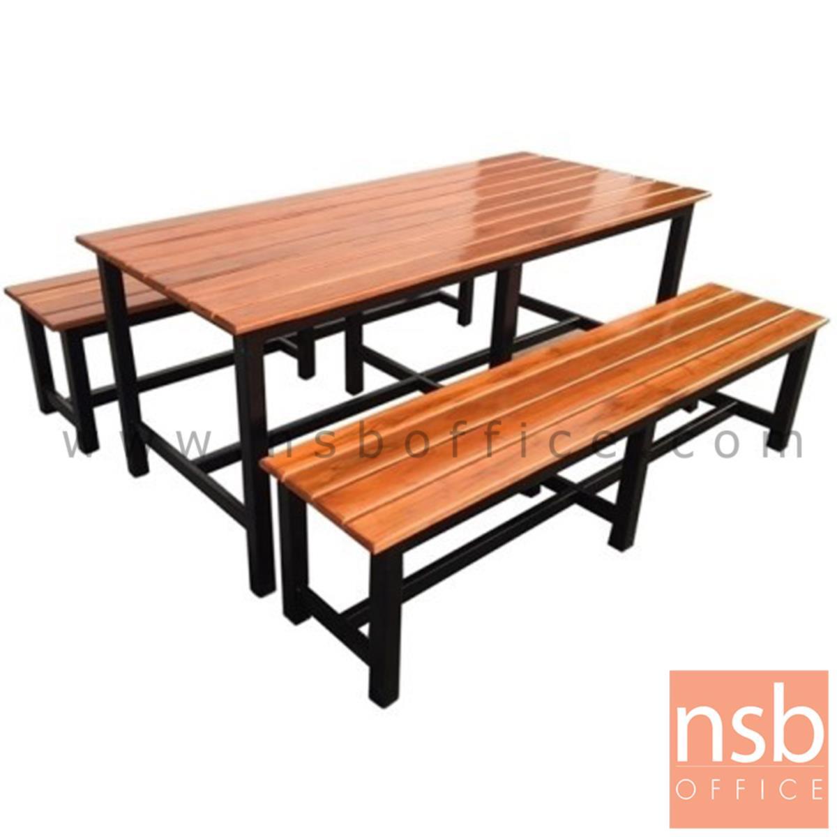 A17A078:โต๊ะโรงอาหารไม้สักทองตีระแนง รุ่น OKLAHOMA (โอกลาโฮมา)  ขนาด 180W cm. ขาเหล็ก