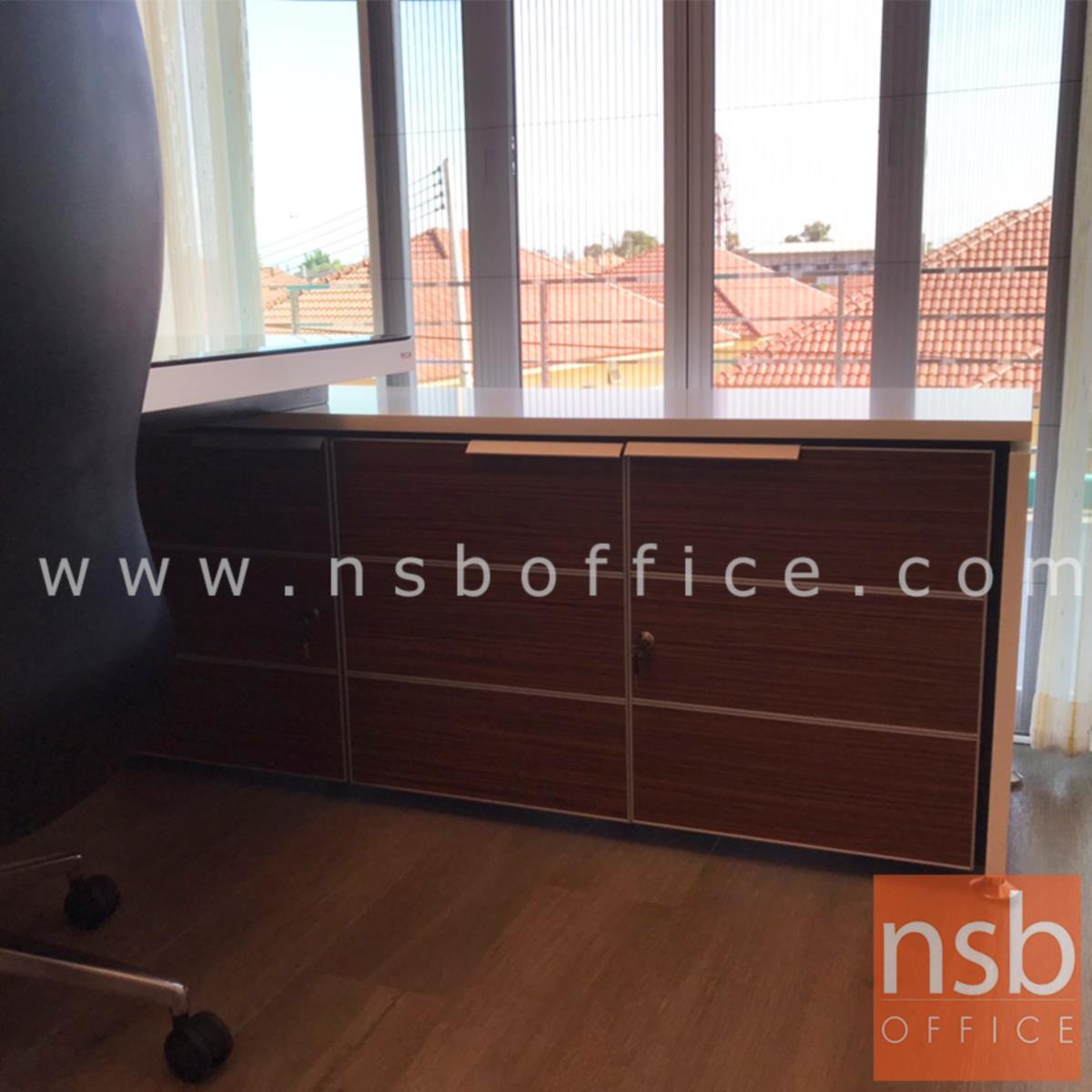 โต๊ะทำงานตัวแอลหน้ากระจก  รุ่น Nextline (เน็กซ์ไลน์) ขนาด 258W cm. สีซีบราโน่-ขาว