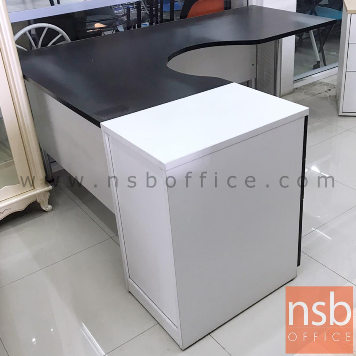 โต๊ะผู้บริหารตัวแอลหน้าโค้งเว้า 3 ลิ้นชัก   ขนาด 160W1*180W2 cm. ขาเหล็ก
