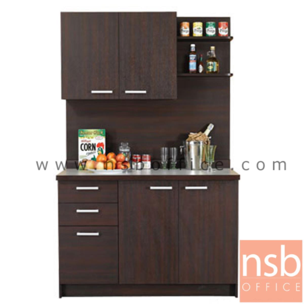 G10A005:ชุดตู้ครัวหน้าเรียบ 120 cm ER-1021  พร้อมตู้ลอย
