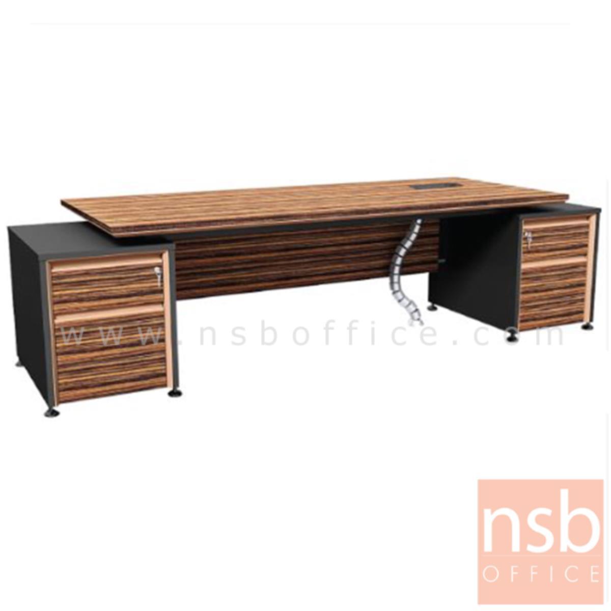 A26A001:โต๊ะผู้บริหาร 2 ลิ้นชักซ้ายขวา  รุ่น Bulgari Black ขนาด 289.5W cm.  สีลายไม้ซีบราโน่ตัดดำ ขอบ ROSEGOLD