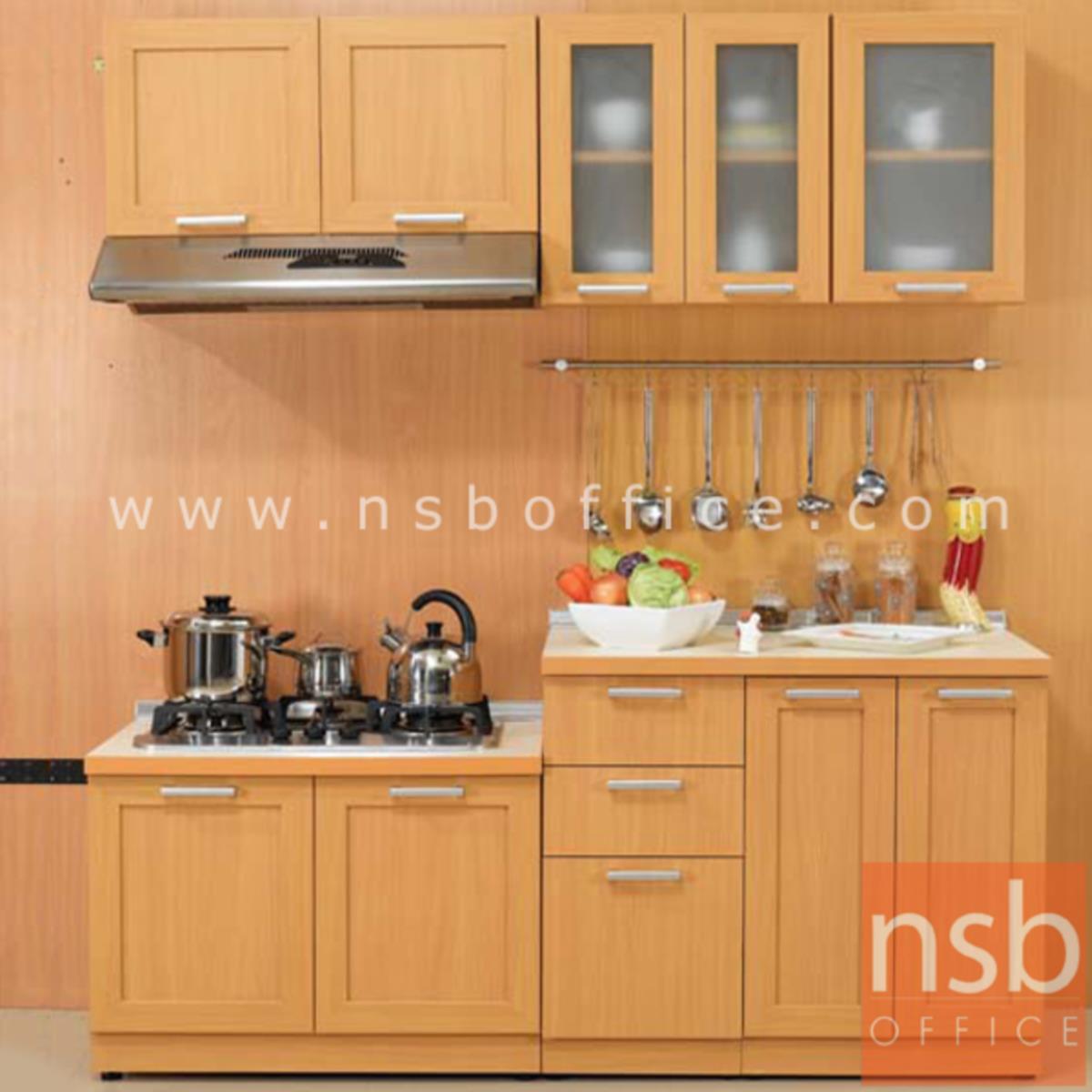 K03A024:ชุดตู้ครัวหน้าเรียบ 190W cm. รุ่น STEP-005  พร้อมตู้แขวนลอย
