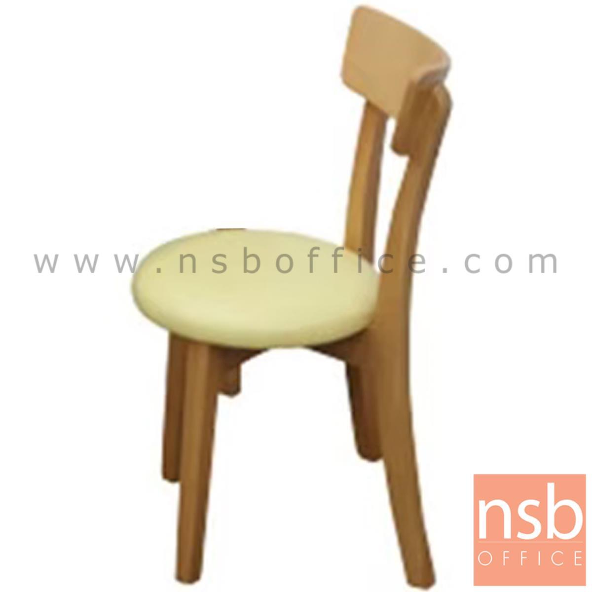 B22A155:เก้าอี้ไม้ที่นั่งหนังเทียม รุ่น Frollo   ขาไม้