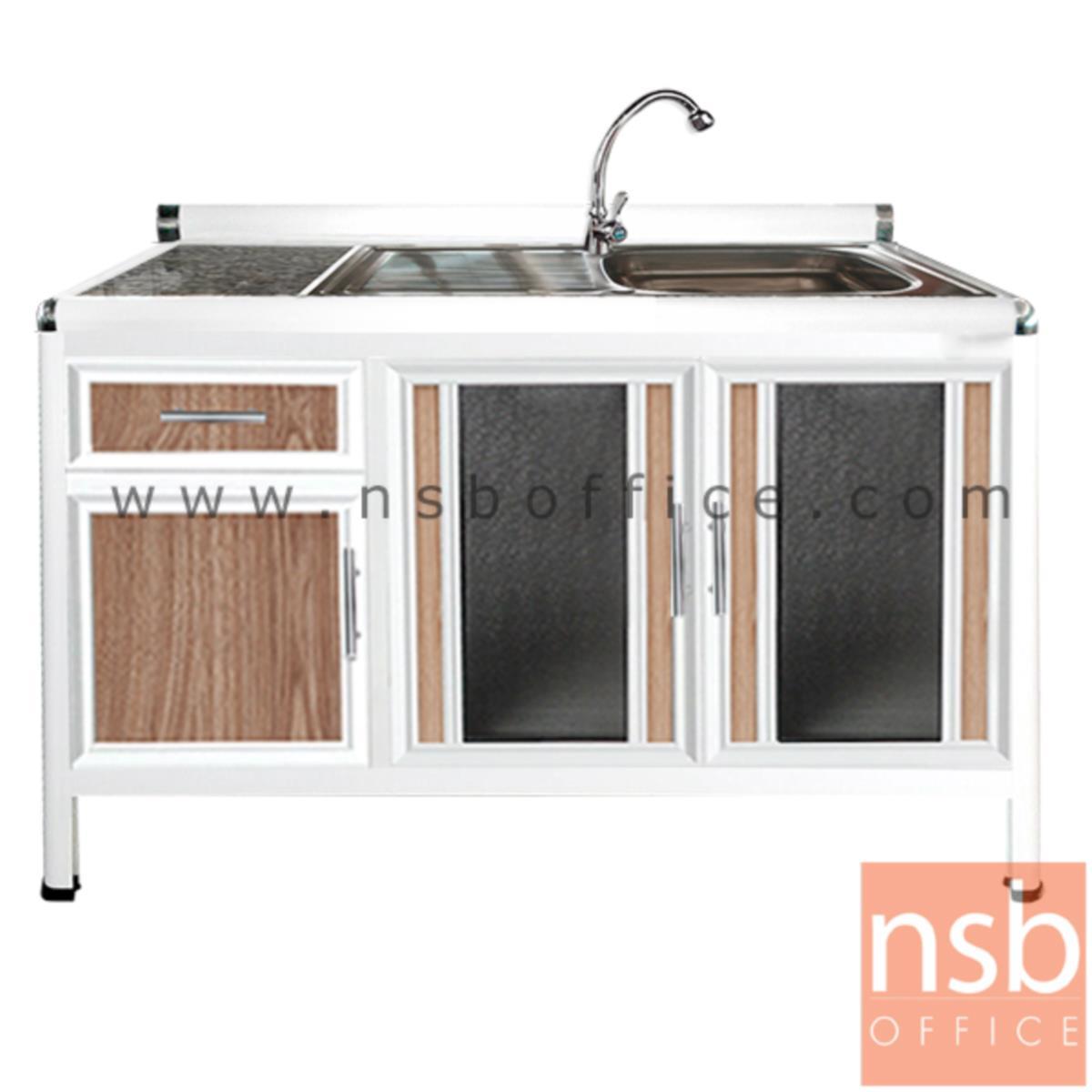 G07A130:ตู้ครัวตอนล่างอลูมิเนียมอ่างซิงค์  1 หลุม มีที่พักจาน  กว้าง 120 ซม รุ่น GBPE 120S