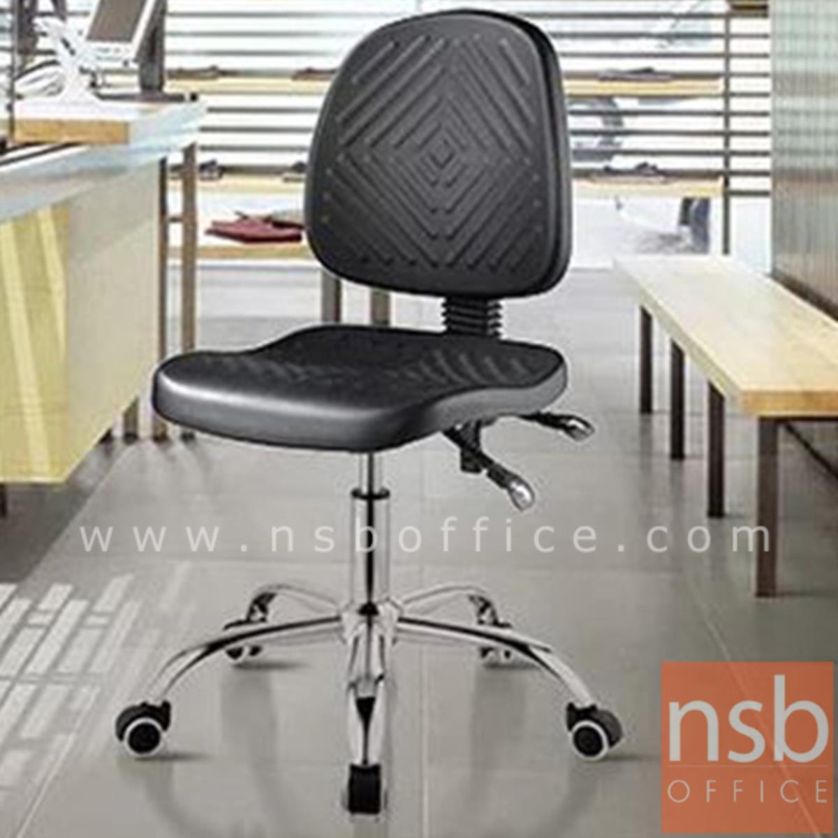 B02A071:เก้าอี้บาร์ที่นั่งเหลี่ยมล้อเลื่อน รุ่น Streep (สตรีป)  โช๊คแก๊ส ขาเหล็กชุบโครเมี่ยม