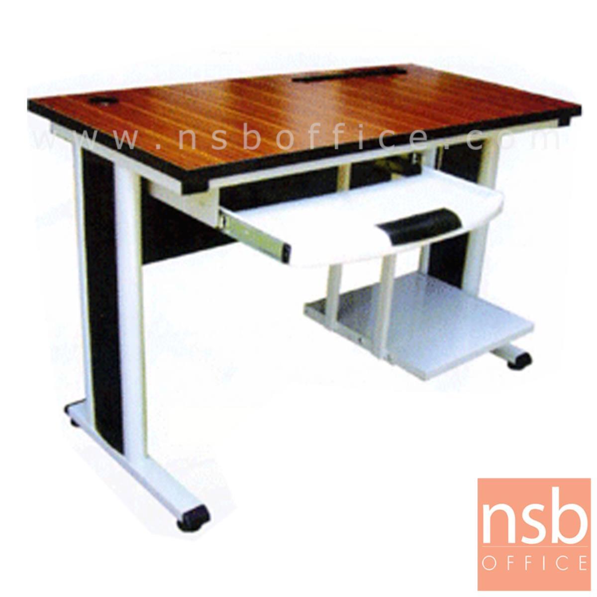 A10A021:โต๊ะคอมพิวเตอร์ ขนาด 120W*75H cm. พร้อมที่วางซีพียูและรางคีย์บอร์ดพลาสติก รุ่น Athena (อธีน่า)  ขาเหล็กสีเทา