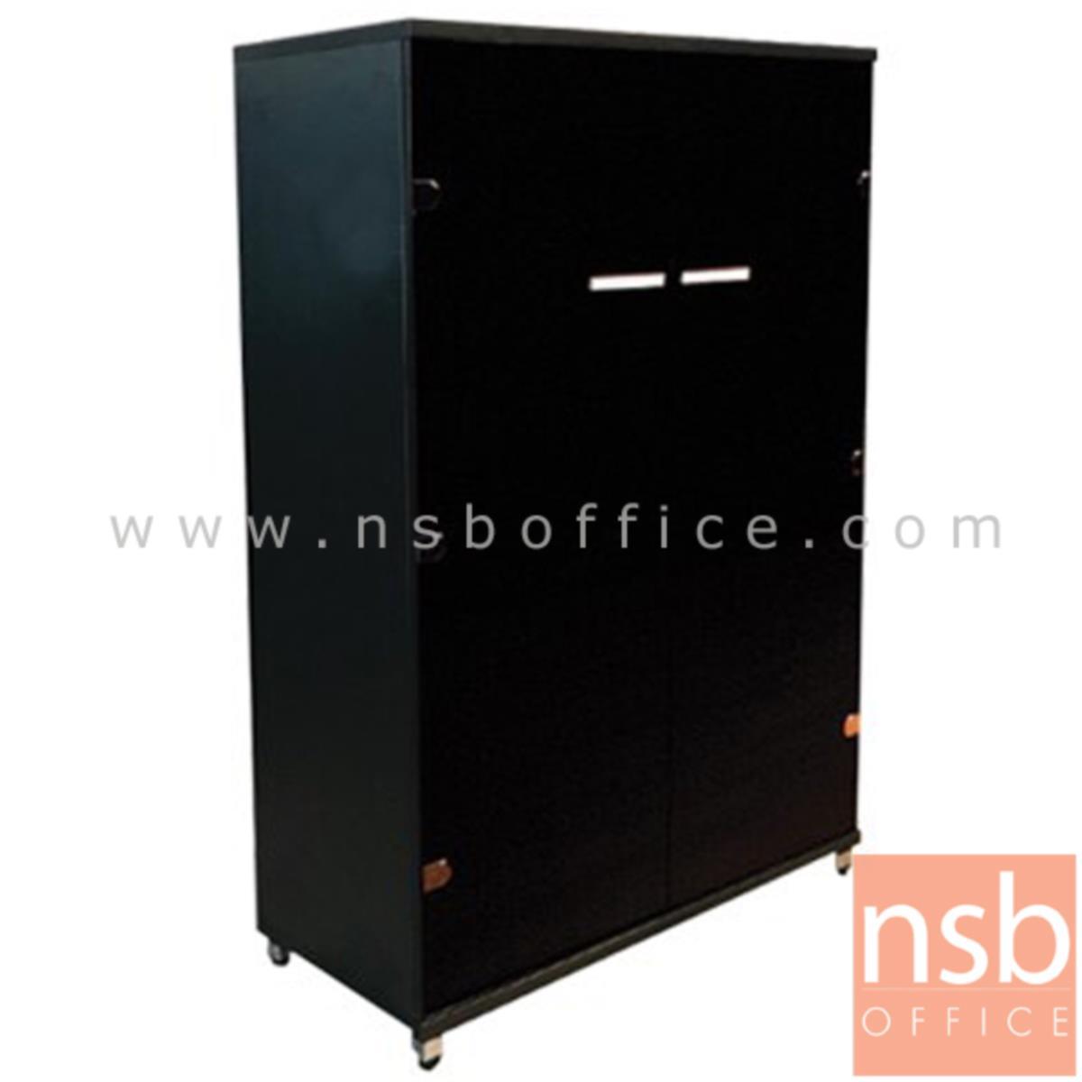 C05A014:ตู้เอกสาร สูง 125 cm. 2 บานเปิดกระจก รุ่น TY-BLACK-GLASS  ขาชุบโครเมี่ยม