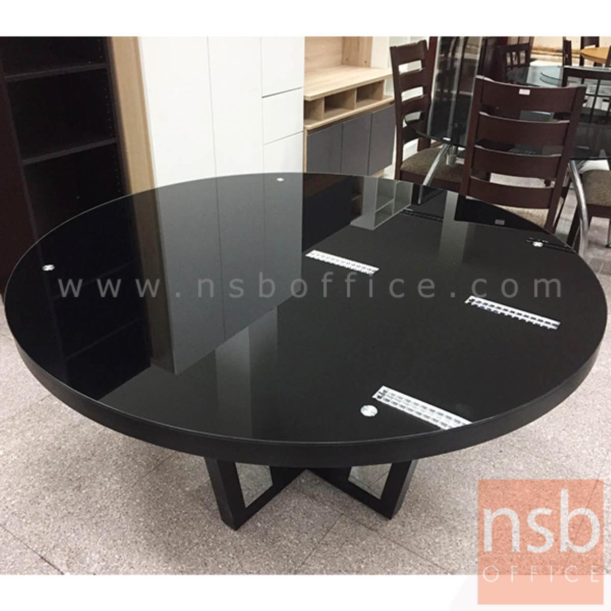 โต๊ะรับประทานอาหารหน้ากระจกชาดำ รุ่น Applegate (แอปเปิลเกต) ขนาด 135Di ,150Di cm.