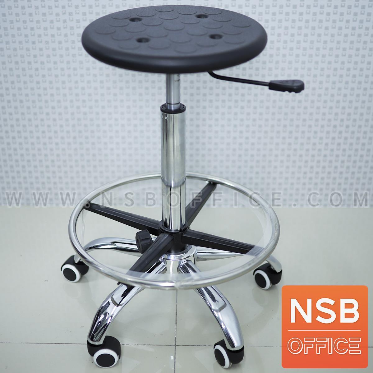 B09A083:เก้าอี้บาร์สตูลที่นั่งกลมล้อเลื่อน รุ่น Cooksey (คุกซี)  โช๊คแก๊ส ขาเหล็กชุบโครเมี่ยม