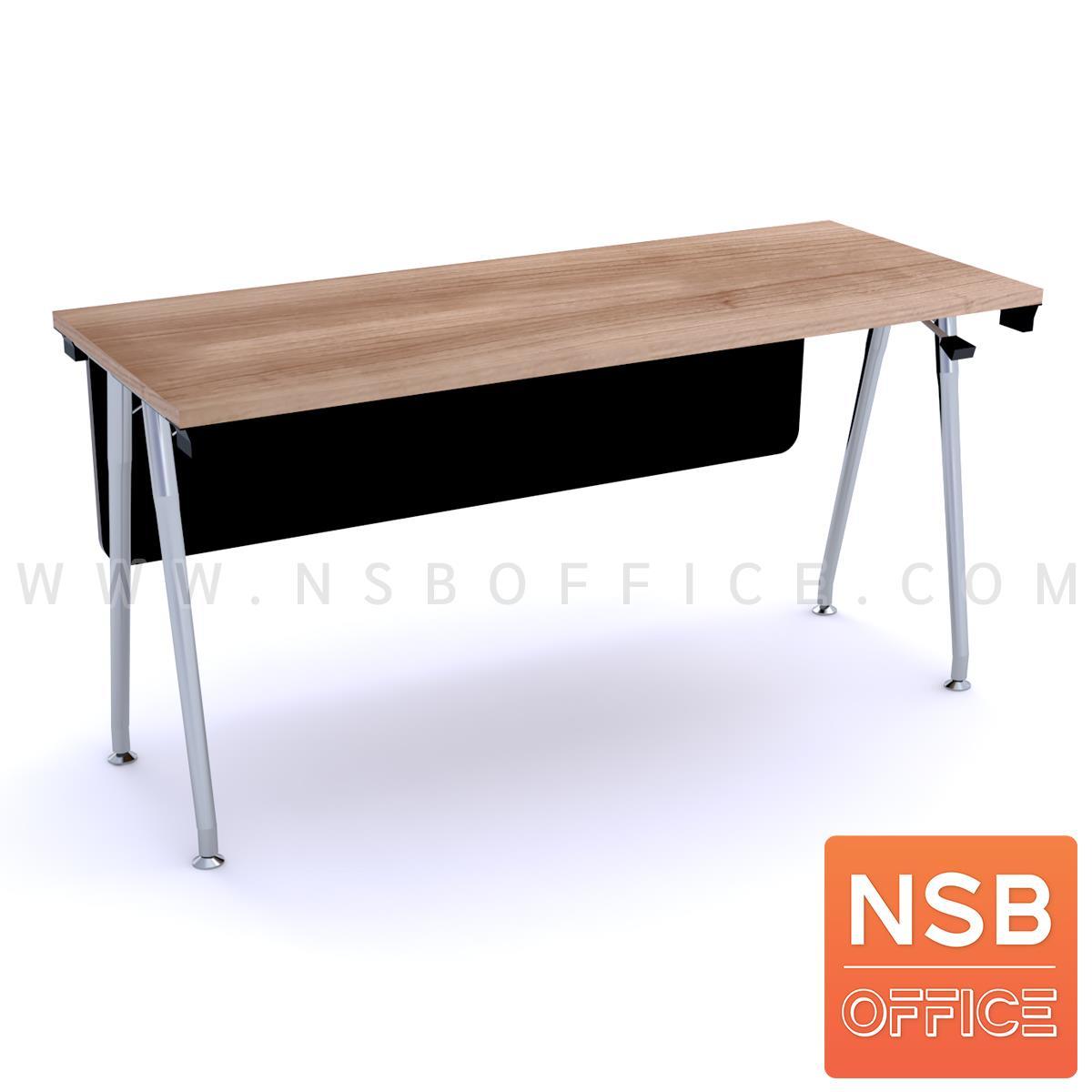 โต๊ะประชุมพับเก็บได้ รุ่น Barbour (บาร์เบอร์) ขนาด 150W ,180W*60D cm.  พร้อมบังตาไม้ ขาเหล็กวีคว่ำ