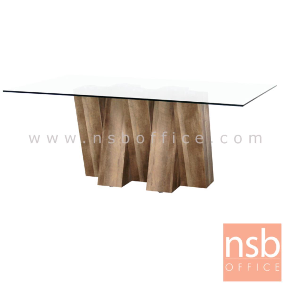 A09A124:โต๊ะประชุมเหลี่ยมหน้ากระจก รุ่น Webbe (เว็บบ์) ขนาด 180W cm.  ขากล่องไม้ MDF