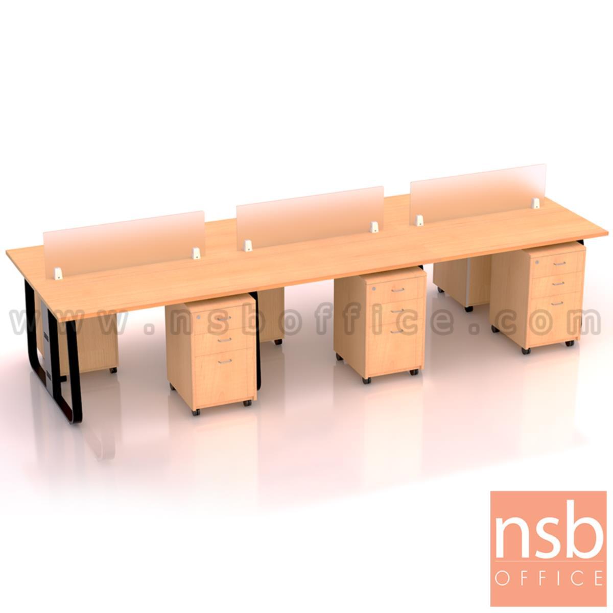 ชุดโต๊ะทำงานกลุ่มขาเหล็ก รุ่น Lenka 2 (เล็งกา 2)  4 ,6 ที่นั่ง ขนาด 240W, 360W cm พร้อมมินิสกรีนและตู้ลิ้นชักไม้ล้อเลื่อน