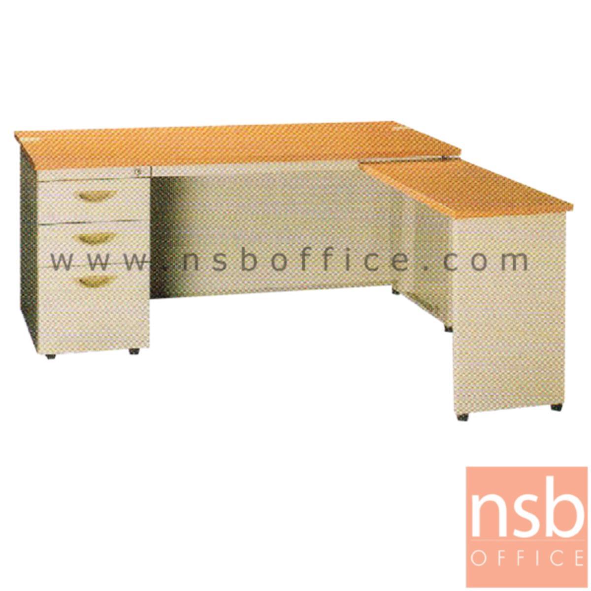 E28A120:โต๊ะทำงานเหล็กตัวแอล 3 ลิ้นชัก ยี่ห้อ ลักกี้  รุ่น DL3-75140,DL3-75160,DL3-75180