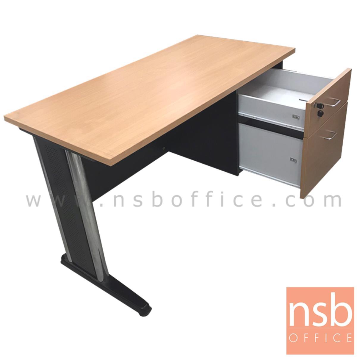 โต๊ะทำงาน 2 ลิ้นชัก  ขนาด 120W*75H cm. ขาเหล็ก สีบีช-ดำ