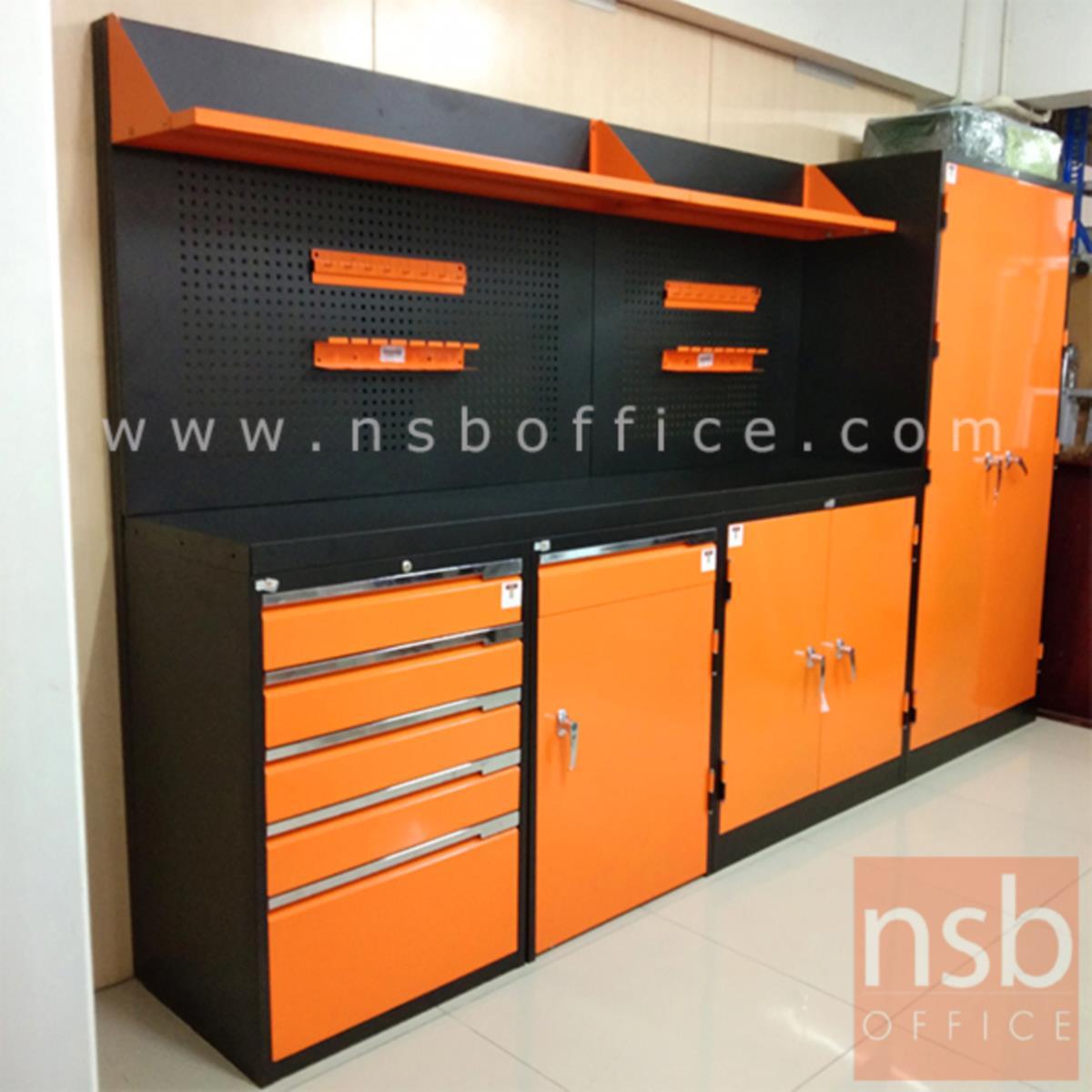 ชุดตู้เก็บเครื่องมือช่าง 307W*49.7D*183H cm. พร้อมแผ่นท็อปแผ่นชั้นและอุปกรณ์เสริม