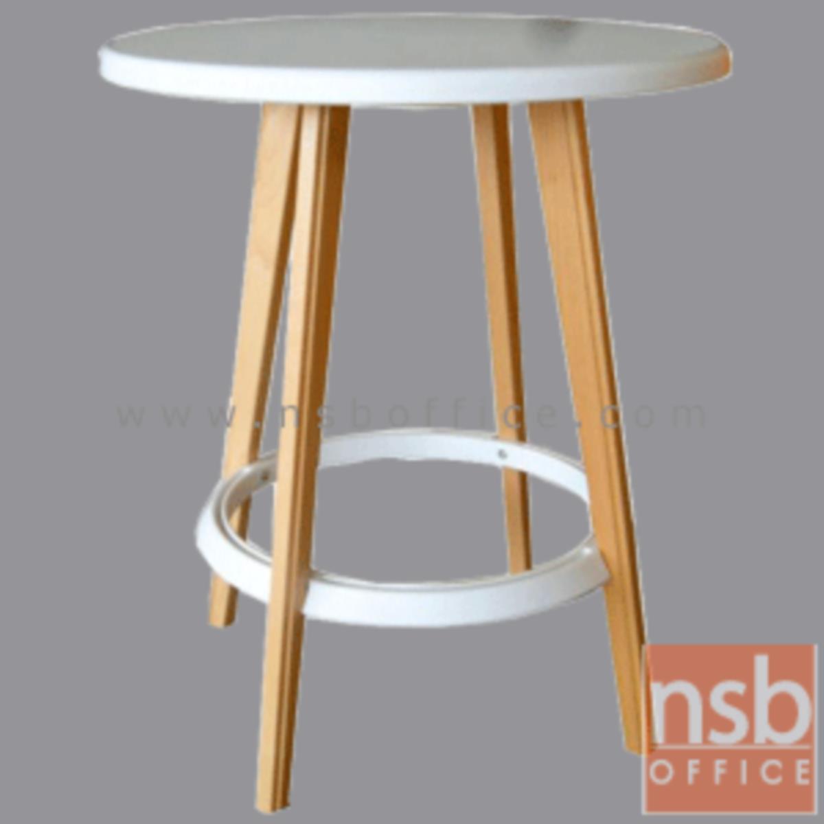 A09A101:โต๊ะหน้าพลาสติก(PP) รุ่น Hiram (ไฮแรม) ขนาด 60W cm.  ขาไม้สีบีช