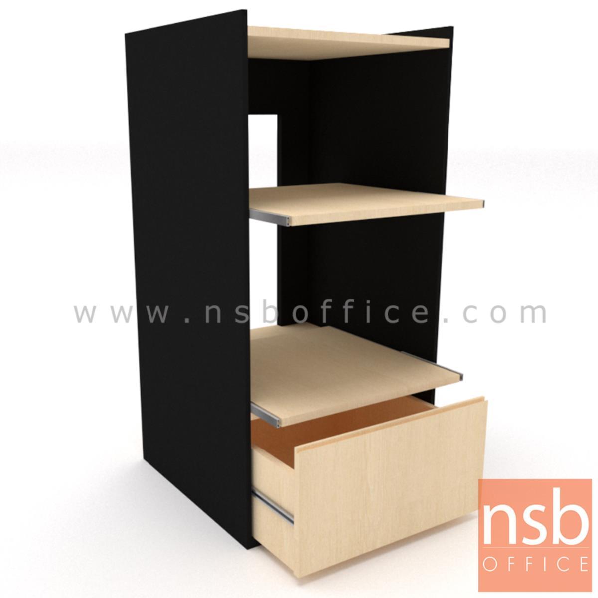 ตู้วางปริ้นเตอร์ ระบบถาดเลื่อน รุ่น Print tower - B  หน้าบานเพ่ (วางได้ 3 เครื่อง)