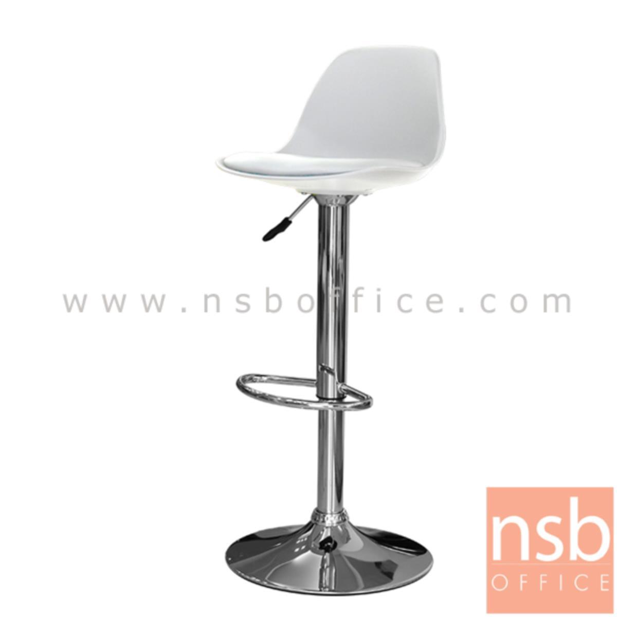 B09A179:เก้าอี้บาร์สูงเปลือกโพลี่เสริมเบาะหนังเทียม รุ่น Lapchick (แลปชิค) ขนาด 38W cm. โช๊คแก๊ส ขาโครเมี่ยมฐานจานกลม