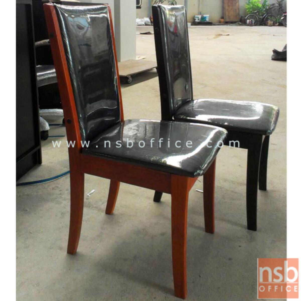 G14A060:เก้าอี้ไม้ยางพาราที่นั่งหุ้มหนังเทียม รุ่น Soren (โซเรน) ขาไม้ยางพารา