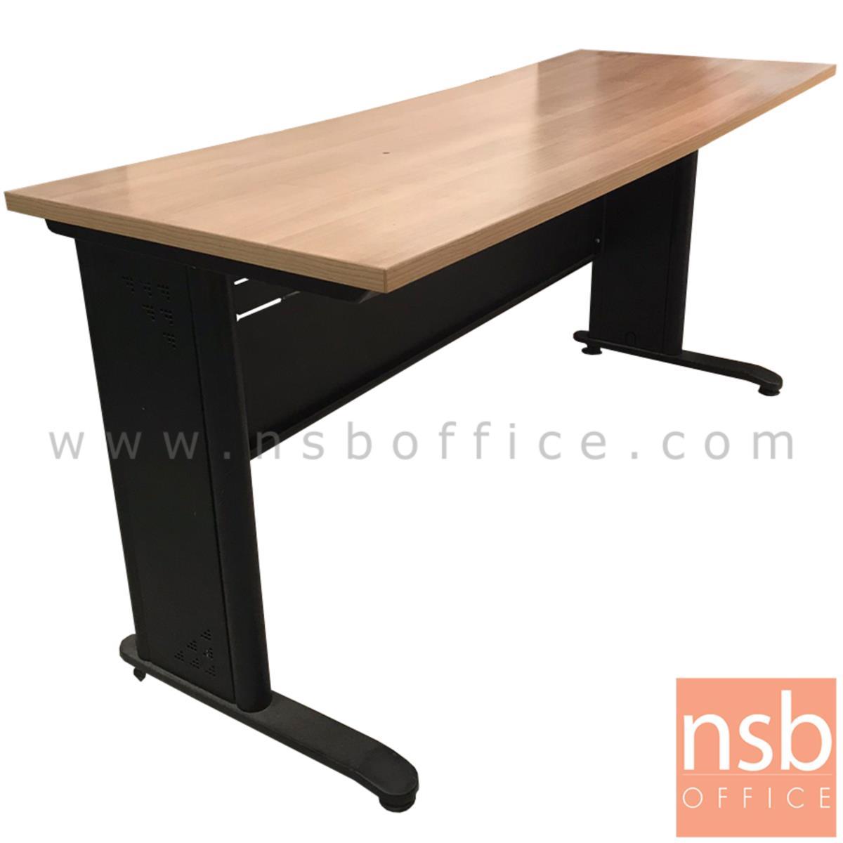 L10A198:โต๊ะทำงานโล่ง บังตาเหล็ก  ขนาด 160W*76H cm. ขาเหล็กพ่นดำ