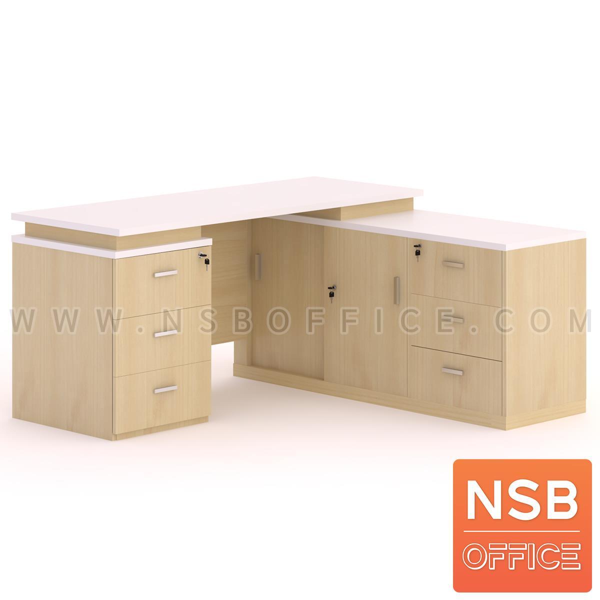 A16A088:โต๊ะทำงานตัวแอล (สต็อก 5 ตัวเฉพาะแอลขวา) รุ่น Downlight (ดาวน์ไลท์) ขนาด 160W*160D*75H cm.  เมลามีน