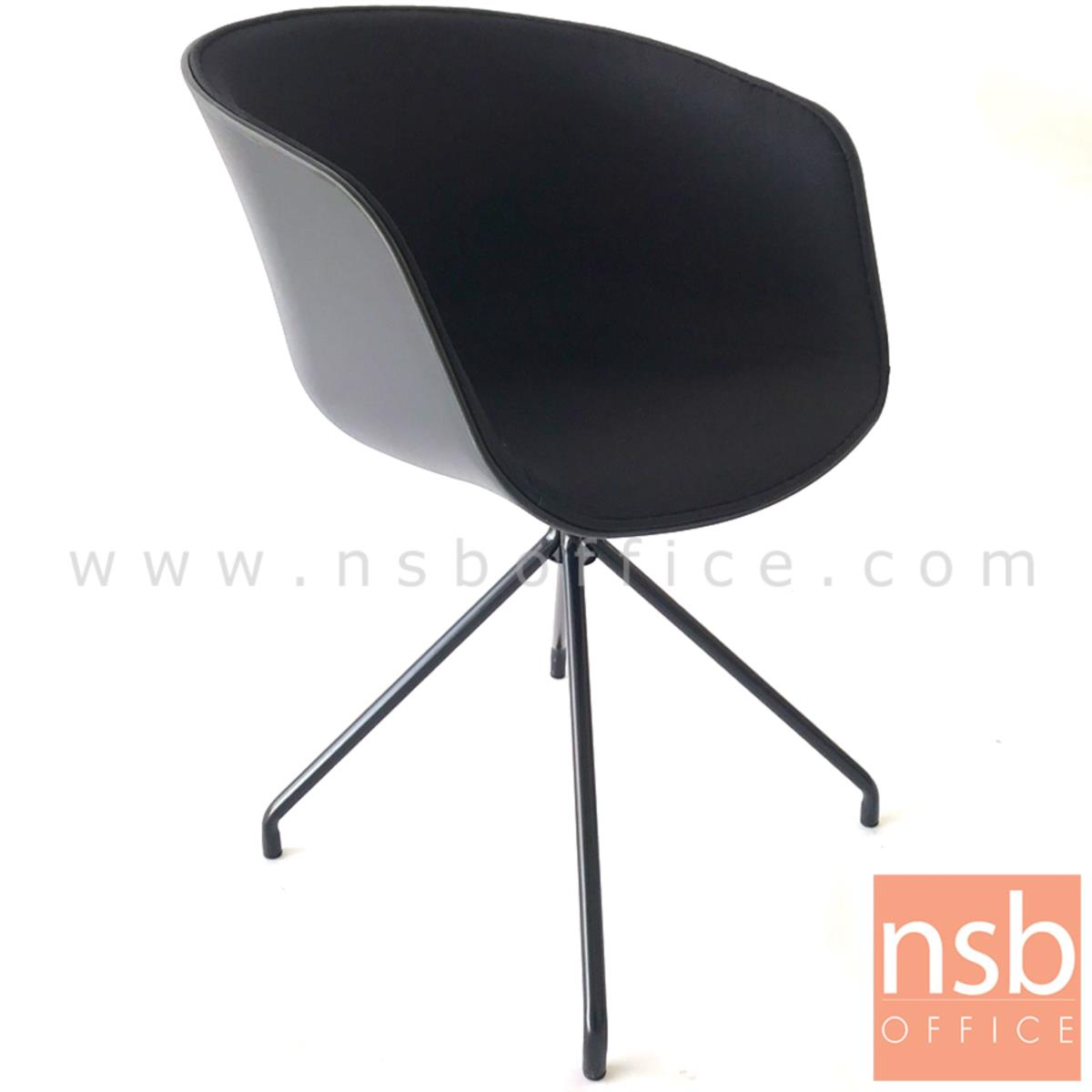 B29A336:เก้าอี้โพลี่ที่นั่งหุ้มผ้า รุ่น Bonita (โบนิต้า) ขนาด 55W cm. ขาเหล็กดำ
