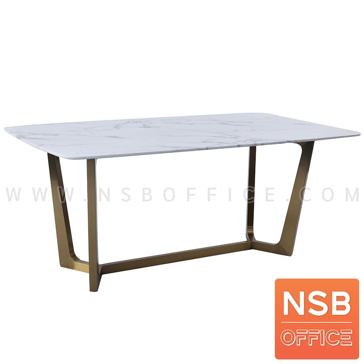 G14A240:โต๊ะรับประทานอาหารหน้าหินอ่อน  รุ่น Dejavu (เดจาวู) ขนาด 180W*90D cm. ขาสแตนเลสสีทอง