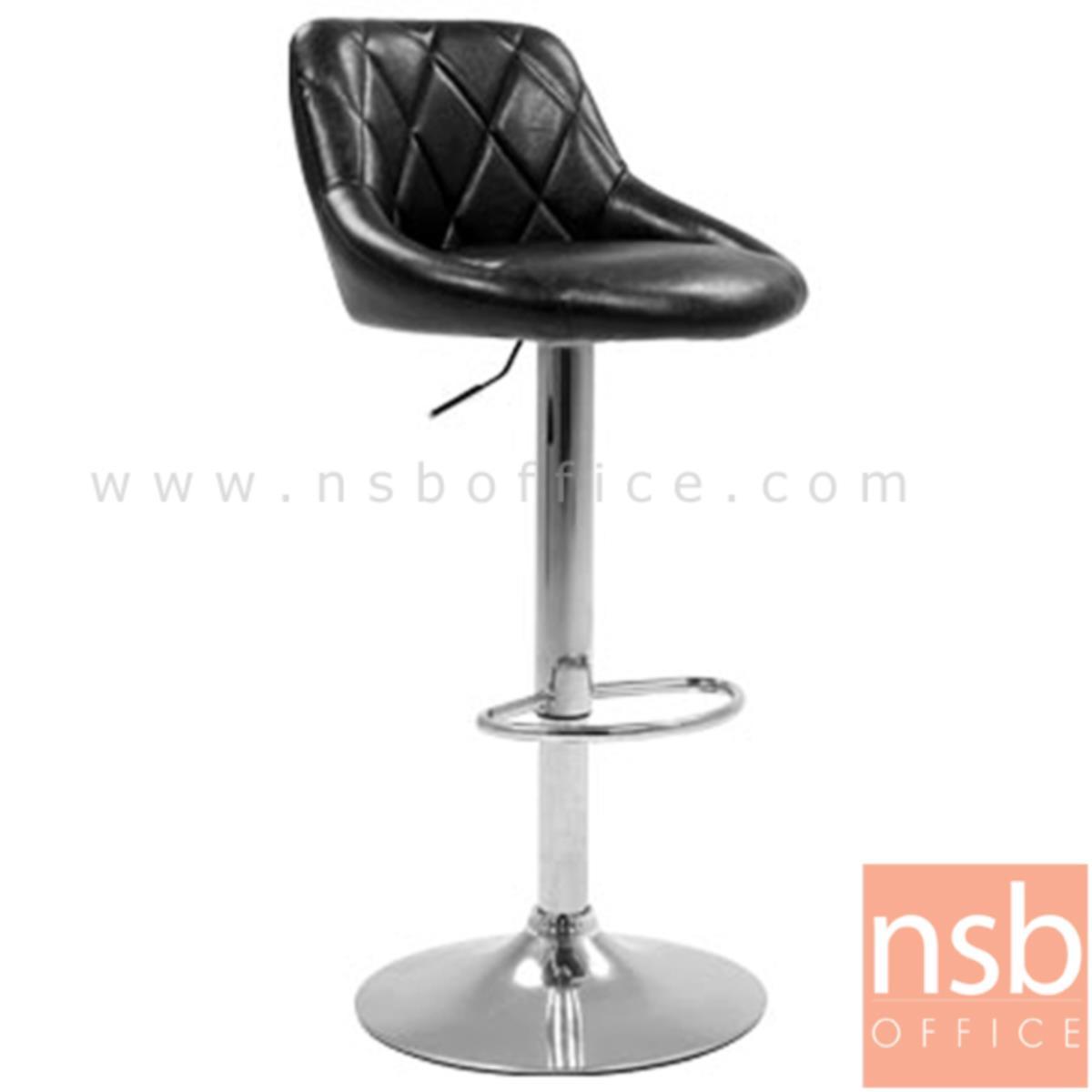B18A026:เก้าอี้บาร์สูงหนัง PU BY-CAST รุ่น BHS-1671 ขนาด 51W cm. โช๊คแก๊ส ขาโครเมี่ยมฐานจานกลม