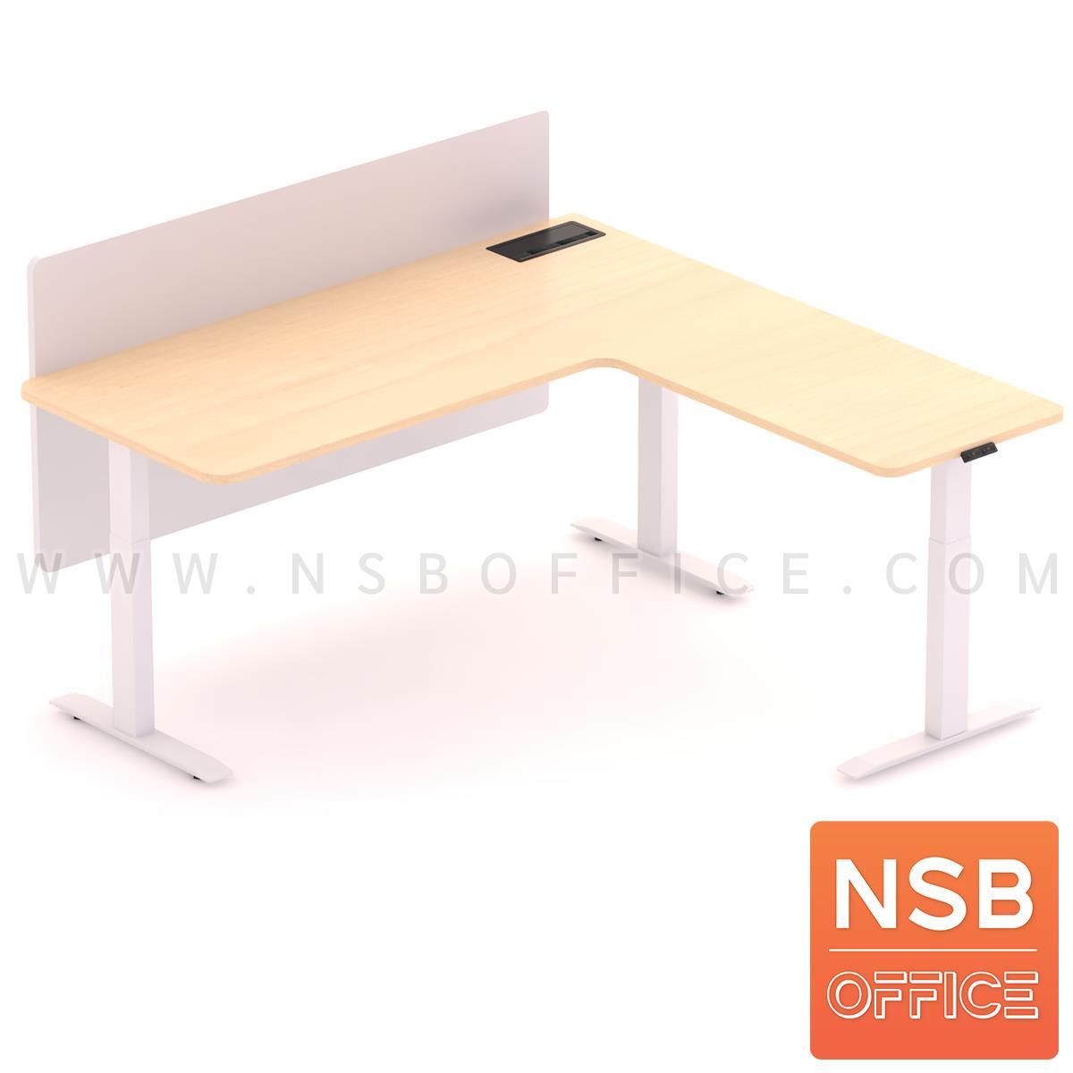 โต๊ะทำงานปรับระดับ Sit 2 Stand ทรงตัวแอล รุ่น Carmelo 2 (คาร์เมโล่ 2) ขนาด 160W, 180W cm.  มีมินิสกรีน พร้อมป็อปอัพรุ่น A24A057