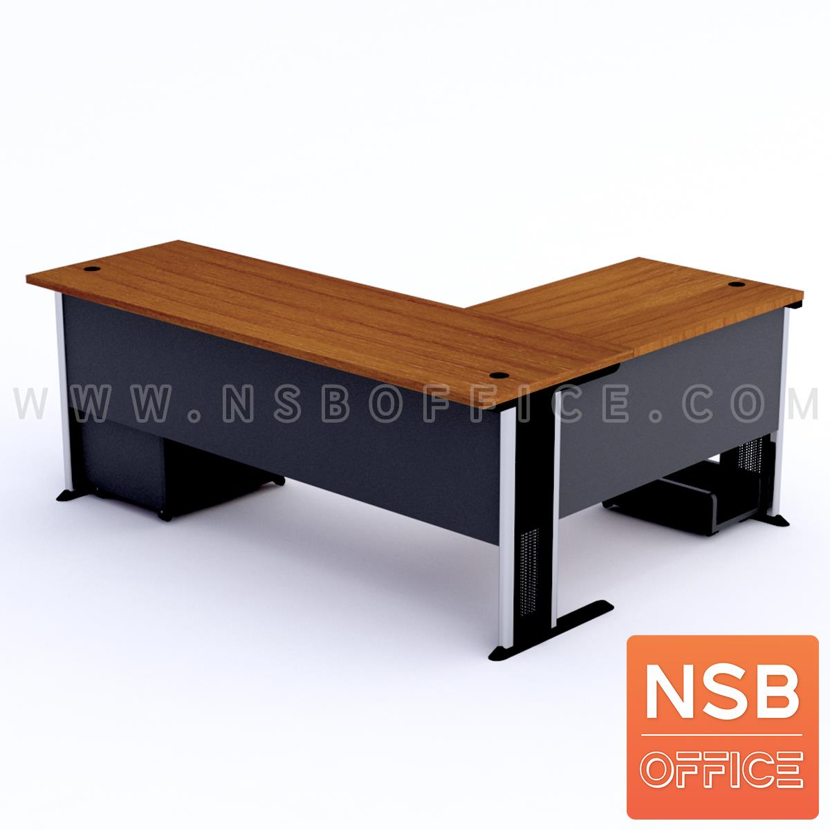 โต๊ะผู้บริหารตัวแอล   ขนาด 180W1*180W2 cm. ขาเหล็กโครเมี่ยมดำ สีเชอร์รี่ดำ