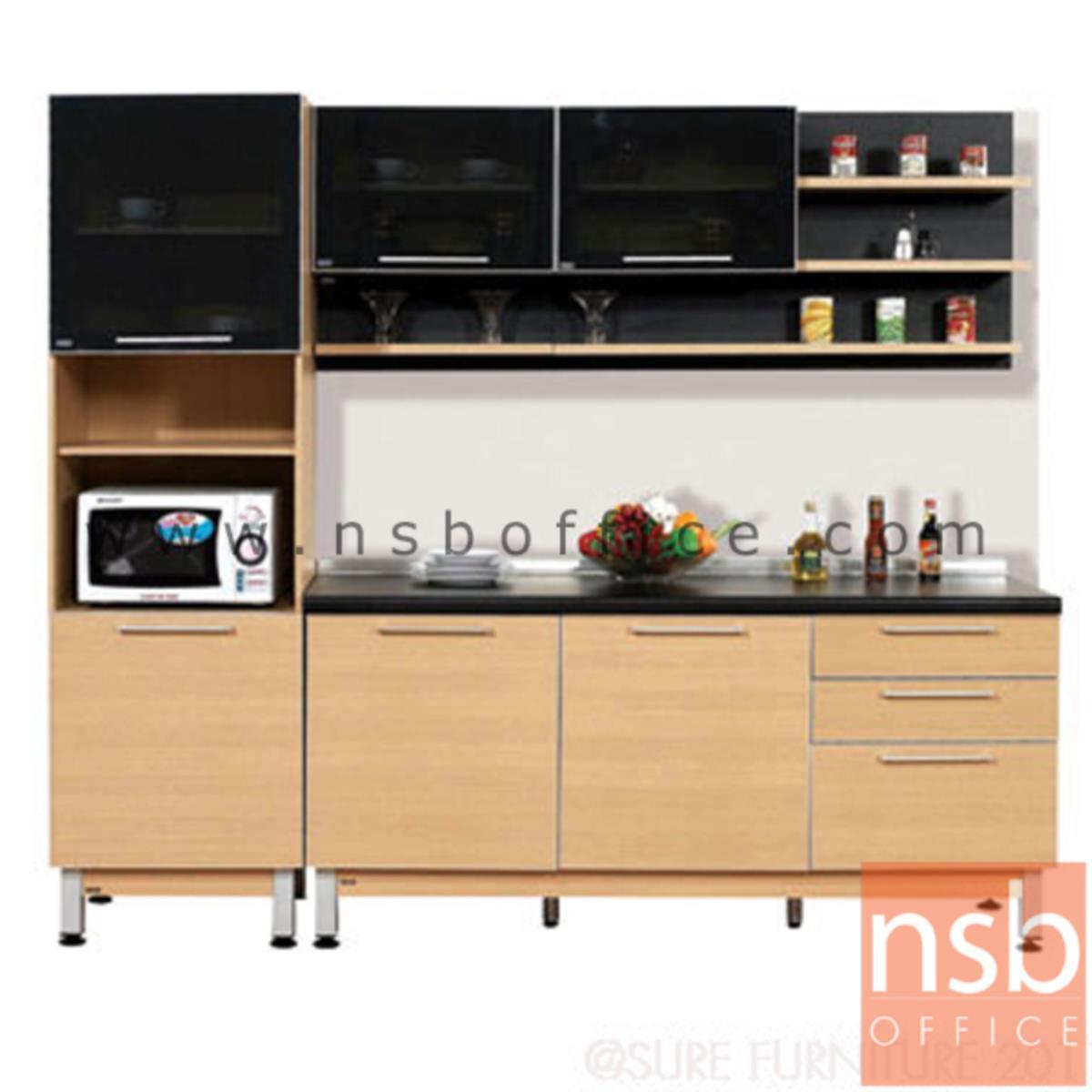 K02A014:ชุดตู้ครัวสีบีทดำ 240W cm. รุ่น STEP-142 (สำหรับครัวเปียกและครัวแห้ง)