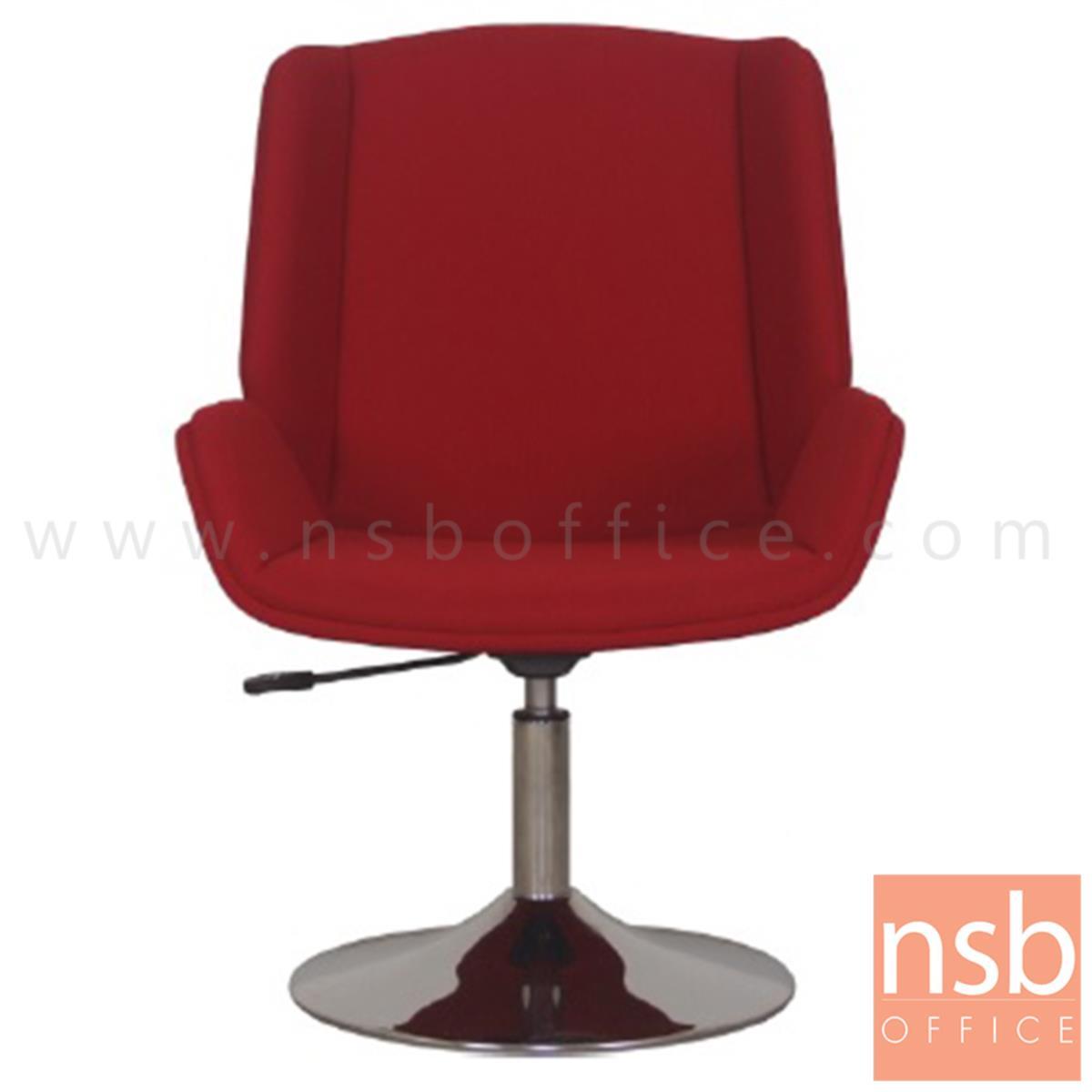เก้าอี้โมเดิร์นบาร์หุ้มผ้า รุ่น MM-FC-2R ขนาด 60W cm. โช๊คแก๊ส ฐานจานกลมโครเมี่ยม