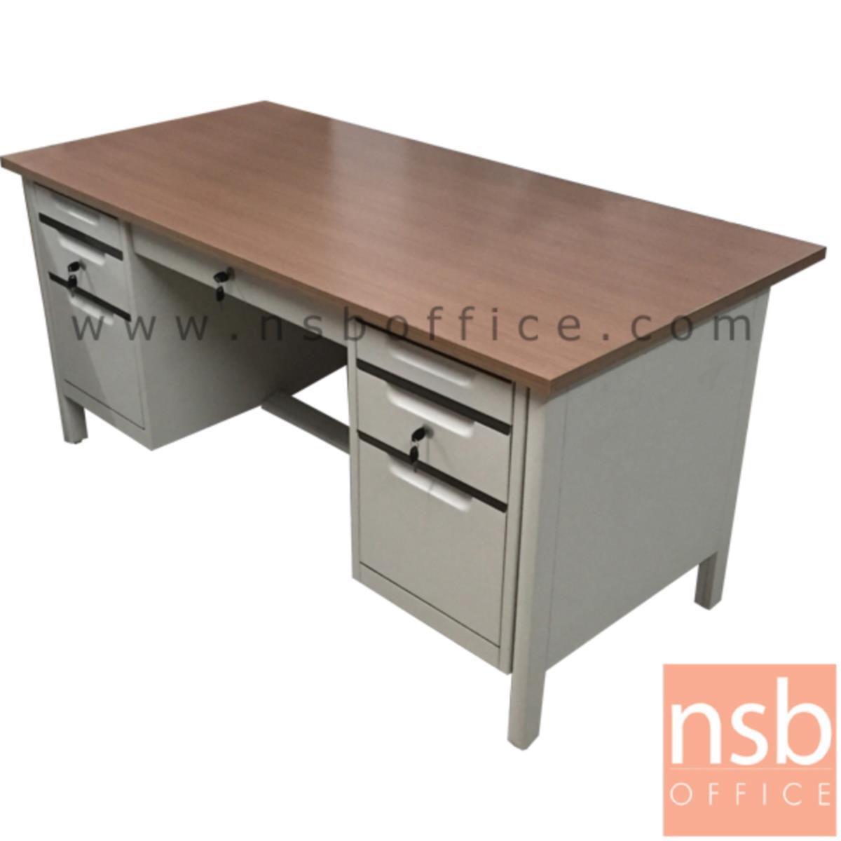 โต๊ะทำงานเหล็ก 7 ลิ้นชัก TOP เมลามีน  รุ่น TTD-50 ขนาด 160.5W*75H cm. ขากล่องใหม่ชิดริม