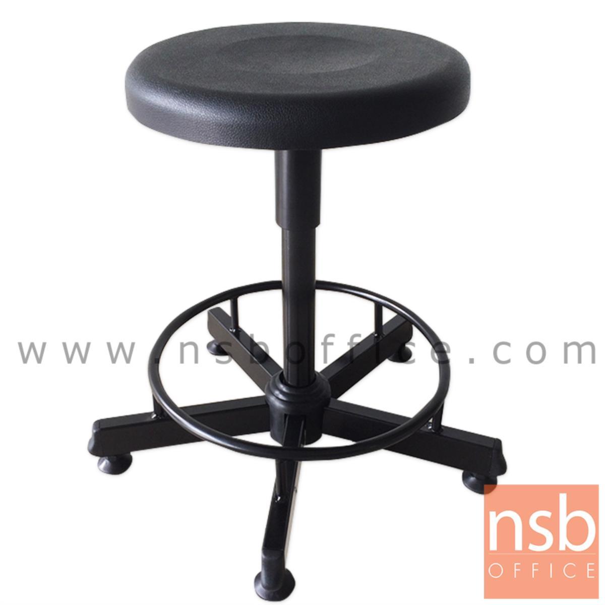 B02A098:เก้าอี้บาร์สตูลที่นั่ง PU กลม รุ่น Benin (เบนิน)  ขาเหล็กกล่อง