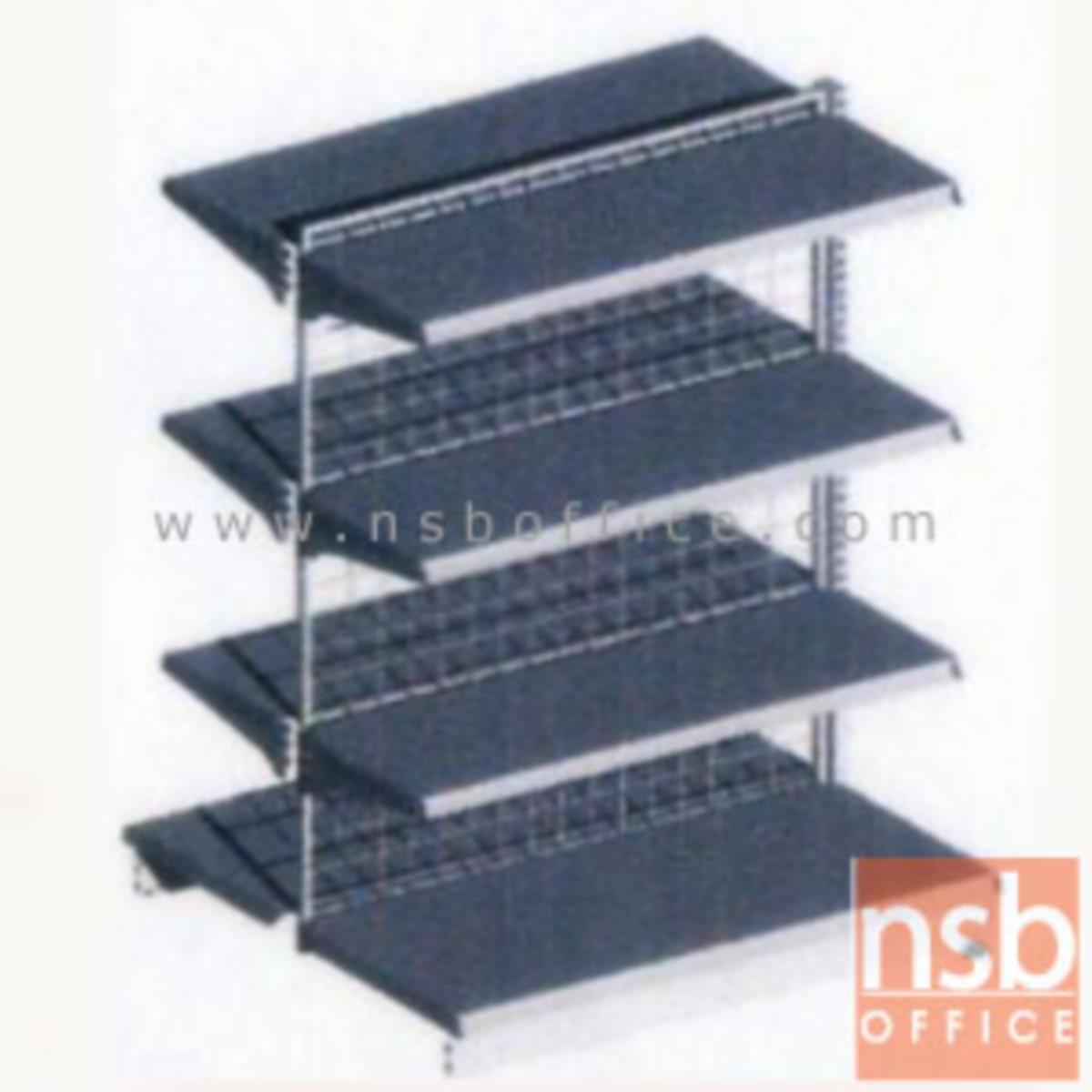 ชั้นเหล็กซุปเปอร์มาร์เก็ต สูง 120 cm. หนา 0.7 mm. 2 หน้า 4+4 แผ่นชั้น รุ่น CK-F4 แบบตัวตั้งและแบบตัวต่อ