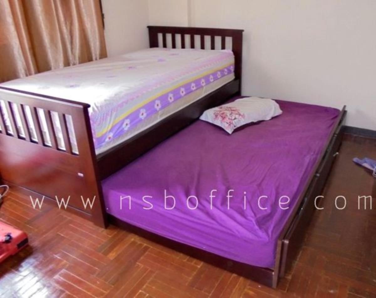G11A099:เตียงเดี่ยว 3.5 ฟุต แบบมีเตียงเสริมด้านใต้ ไม้ยางพารา   (สต็อก 3 ชุด)
