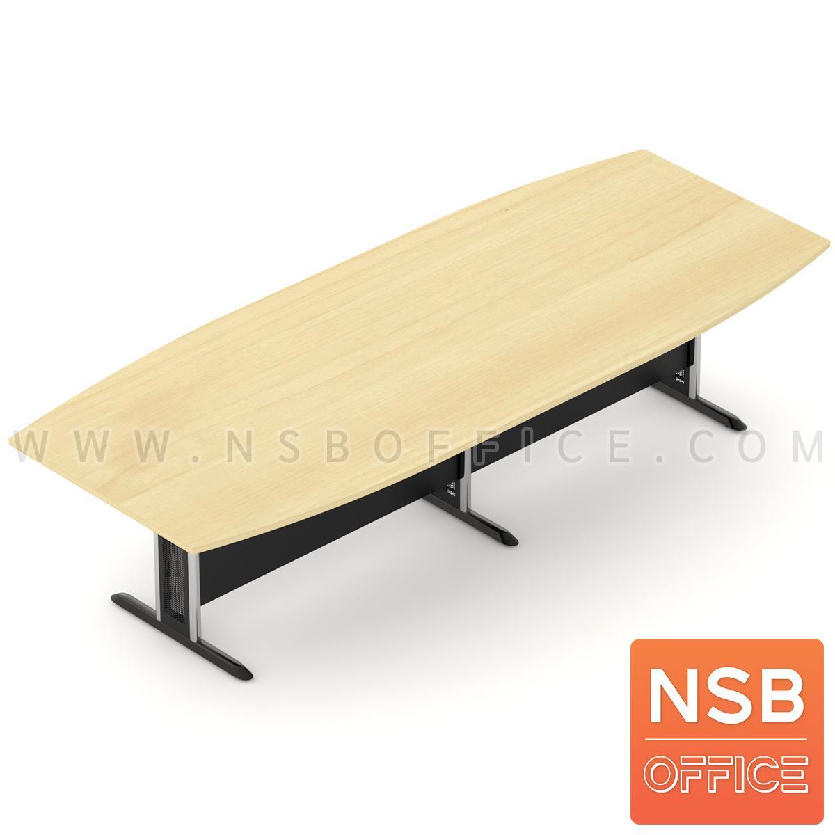 A05A080:โต๊ะประชุมกลางต่อทรงเรือ  300W ,360W ,400W ,480W cm. พร้อมบังโป๊ไม้ ขาเหล็กตัวที