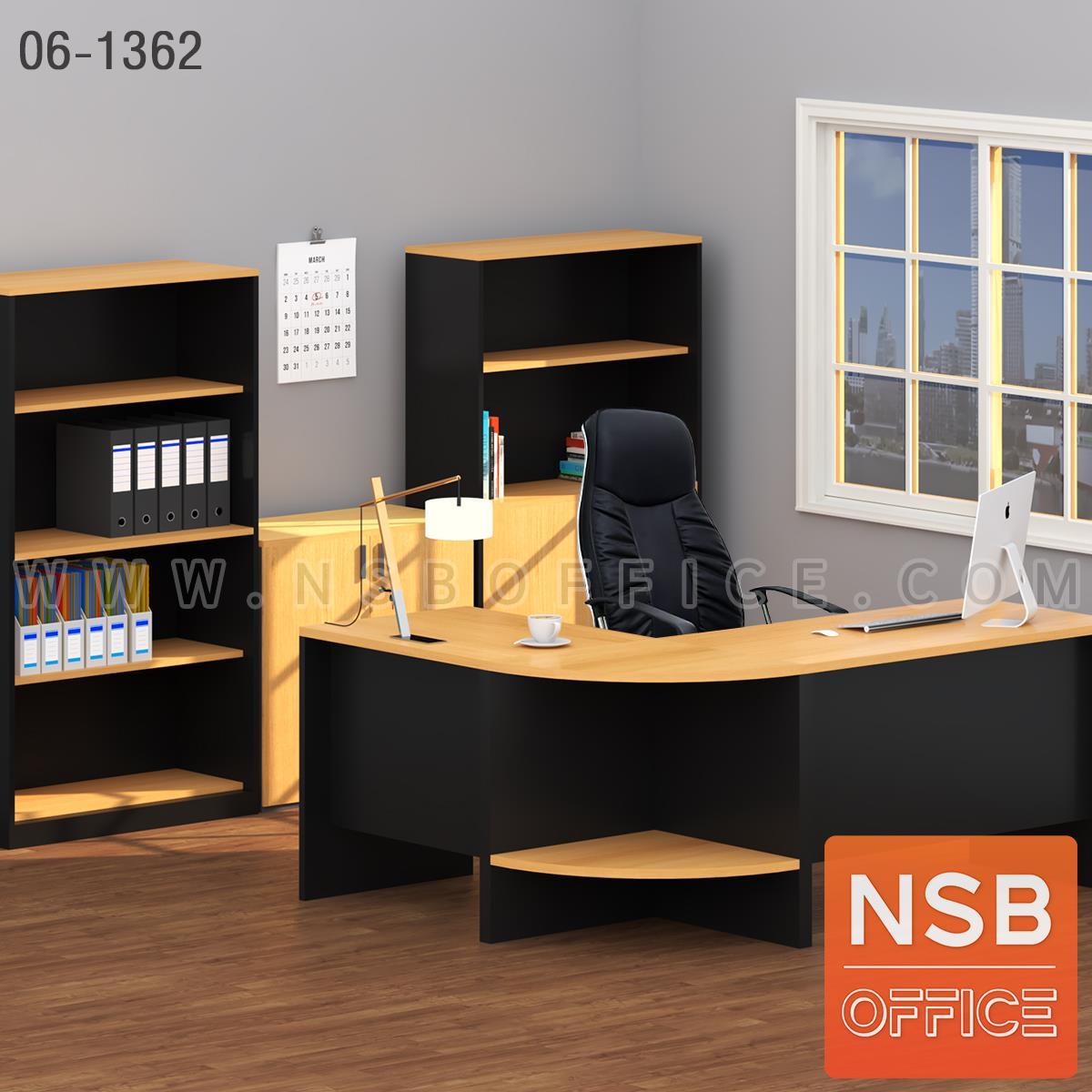 SETA003:เซ็ตโต๊ะทำงานตัวแอล สีเชอรี่-ดำ รุ่น Blackcher (แบล็คเชอร์)  พร้อมตู้เก็บเอกสาร เก้าอี้ผู้บริหาร (รวม 5 ชิ้น)