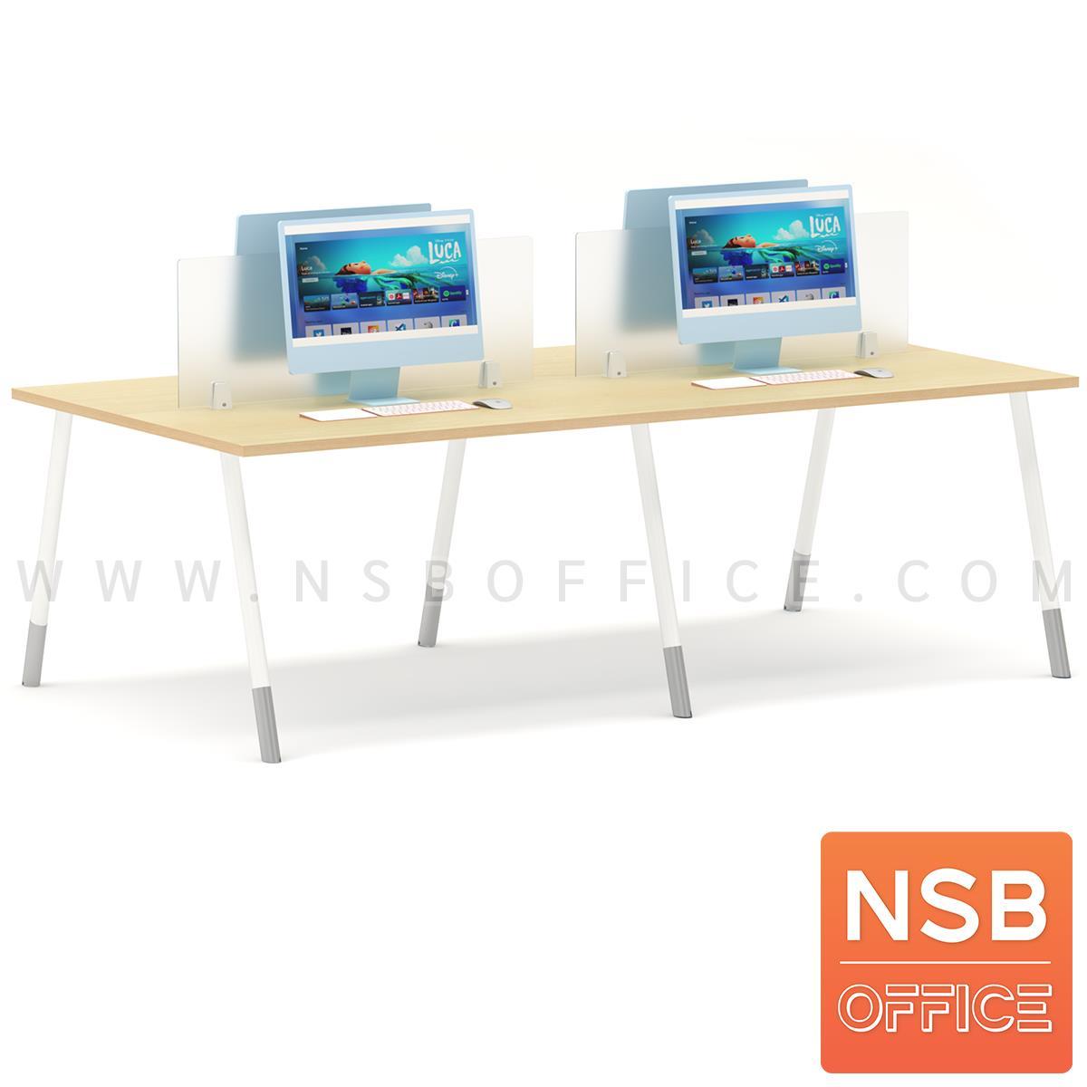 ชุดโต๊ะทำงาน 4 ที่นั่ง  รุ่น Brenton (เบรนตัน) ขนาด 240W*120D cm. พร้อมมินิสกรีนด้านหน้า