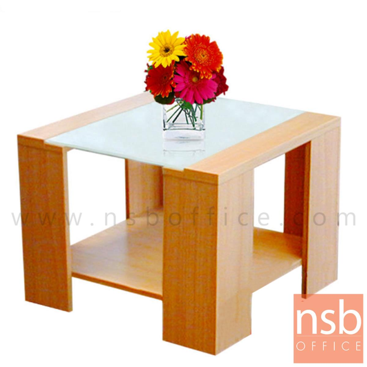 B13A061:โต๊ะกลางกระจก  รุ่น Grojband (กรอจแบนด์) ขนาด 60W cm. โครงไม้