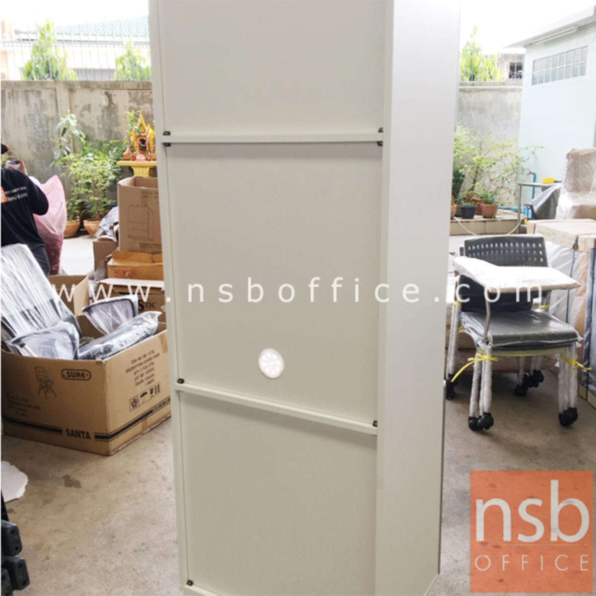 ตู้ครัวสีลายไม้ตัดขาวสูงบน-ล่าง 1 บานเปิด รุ่น Martinell 7 มีช่องโล่งตรงกลาง (สำหรับครัวเปียกและครัวแห้ง)