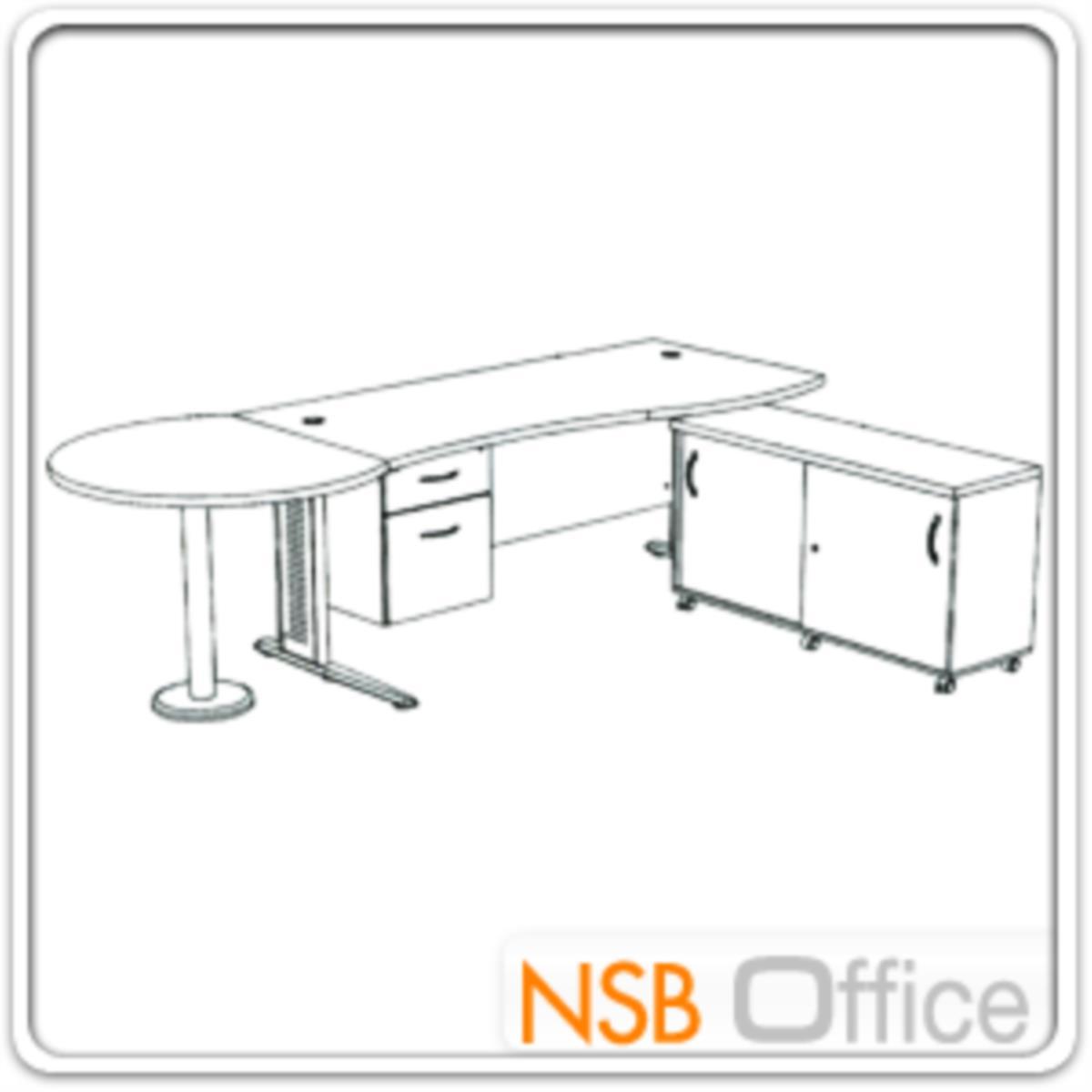 โต๊ะผู้บริหารตัวแอล   ขนาด 300W cm. ขาเหล็กโครเมี่ยมดำ สีเชอร์รี่-ดำ *แอลตามภาพเท่านั้น*