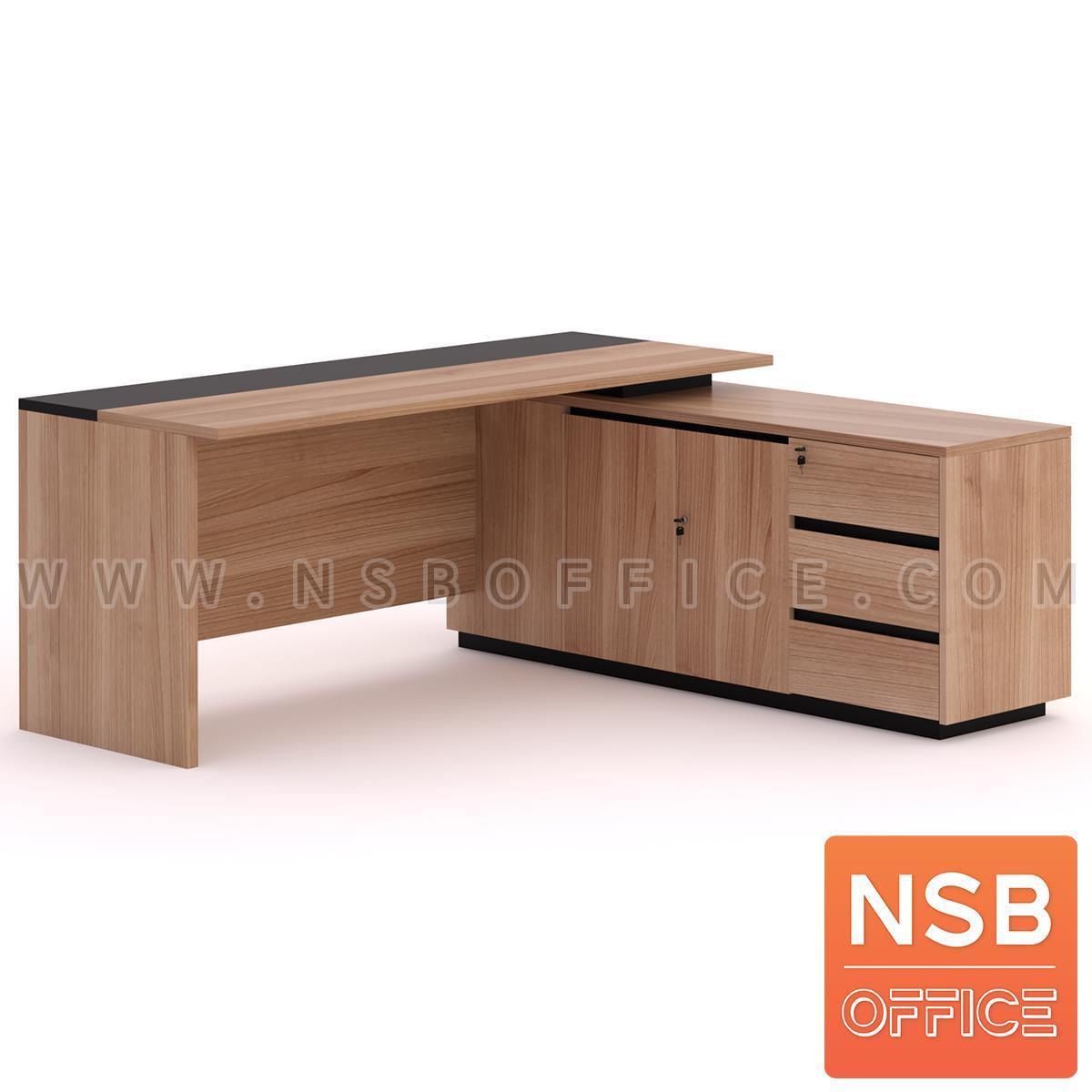 A13A163:โต๊ะผู้บริหารตัวแอล  รุ่น MN-CLD ขนาด 180W cm. พร้อมตู้ข้าง
