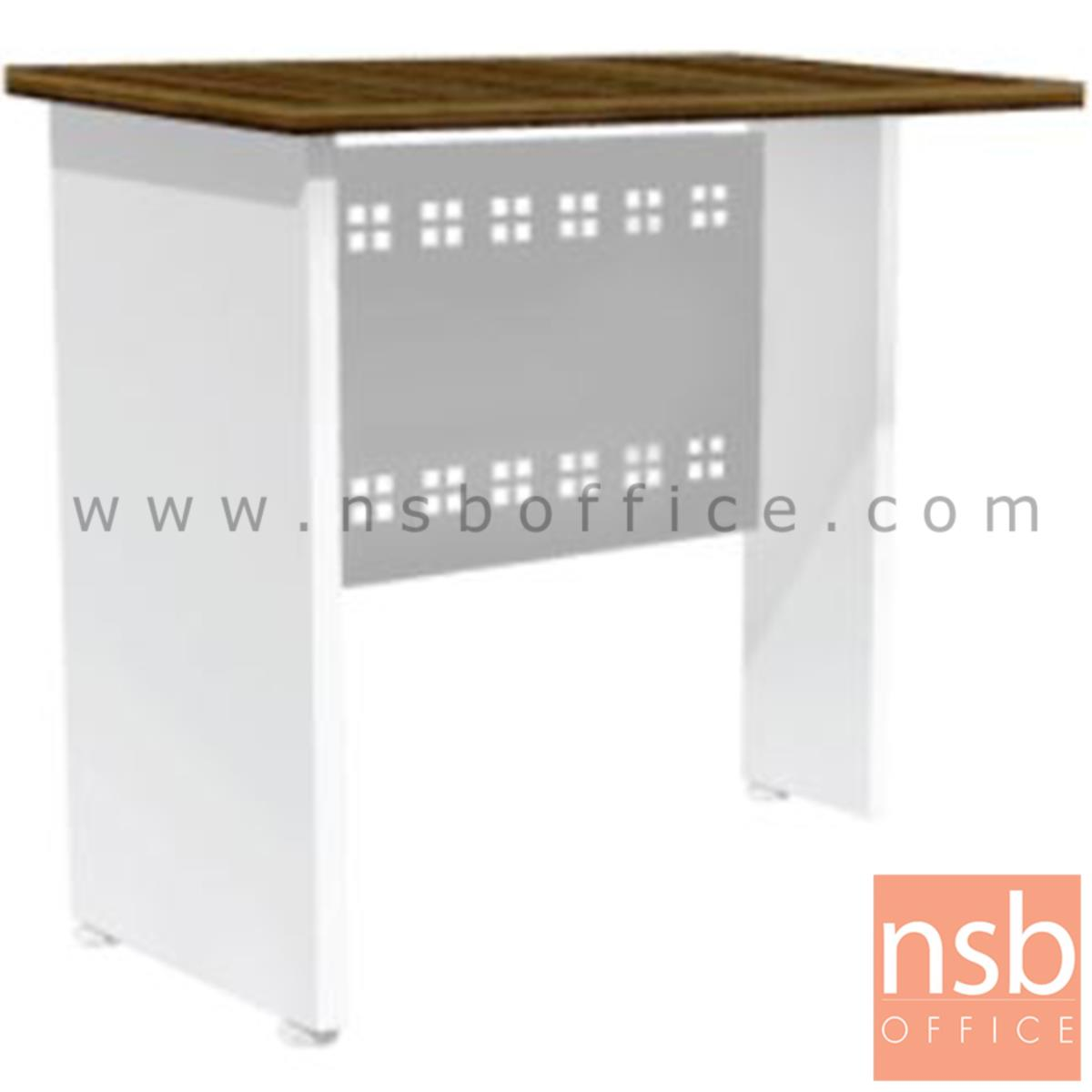 A34A027:โต๊ะเข้ามุม  รุ่น Cribbie (คลิบบี้) ขนาด 80W cm. พร้อมบังโป๊เหล็ก สีซีบราโน่-ขาว