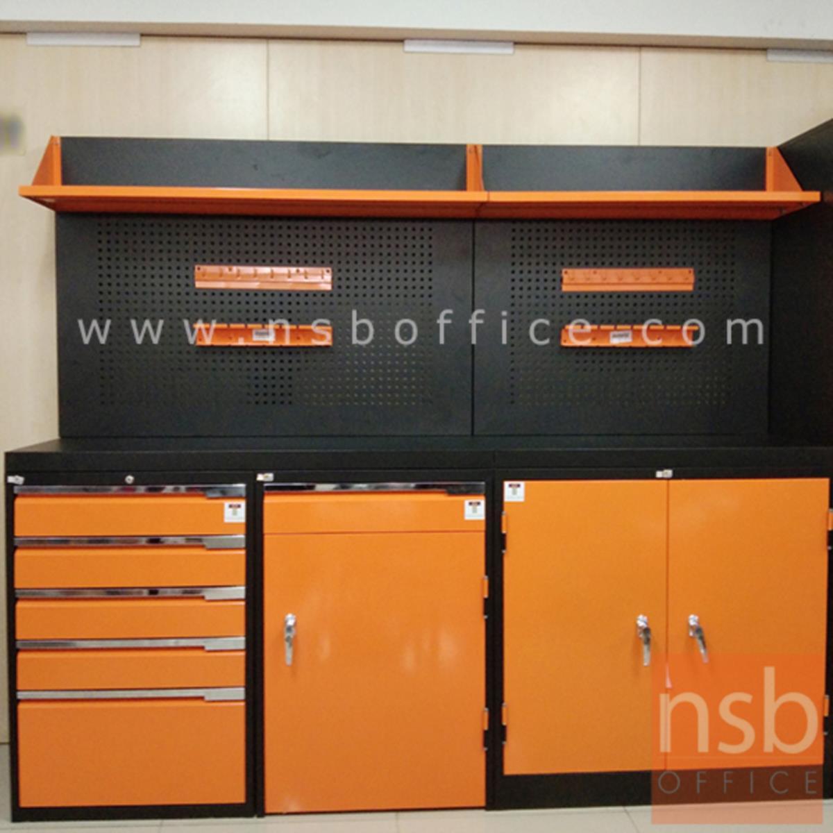 ชุดตู้เก็บเครื่องมือช่าง ขนาด 215W*49.7D*183H cm. พร้อมแผ่นท็อปแผ่นชั้นและอุปกรณ์เสริม