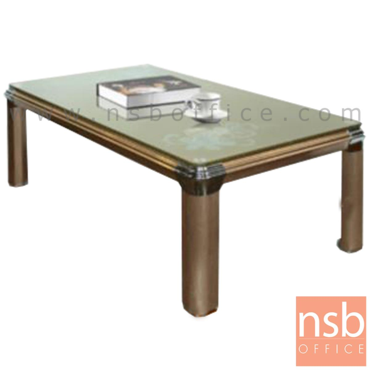 B13A150:โต๊ะกลางกระจกลายดอกไม้ รุ่น Post-punk (โพสต์พังค์) ขนาด 130W cm. โครงอลูมิเนียม