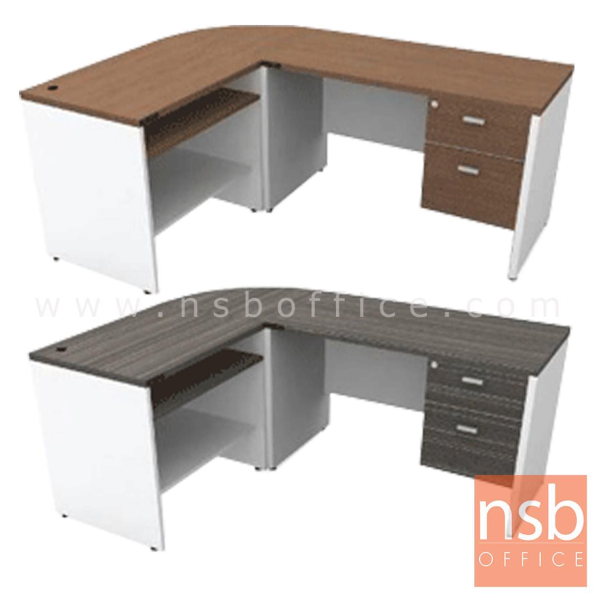 A13A037:โต๊ะทำงานตัวแอล 2 ลิ้นชัก รุ่น Enterprise ขนาด 180W cm. เมลามีน