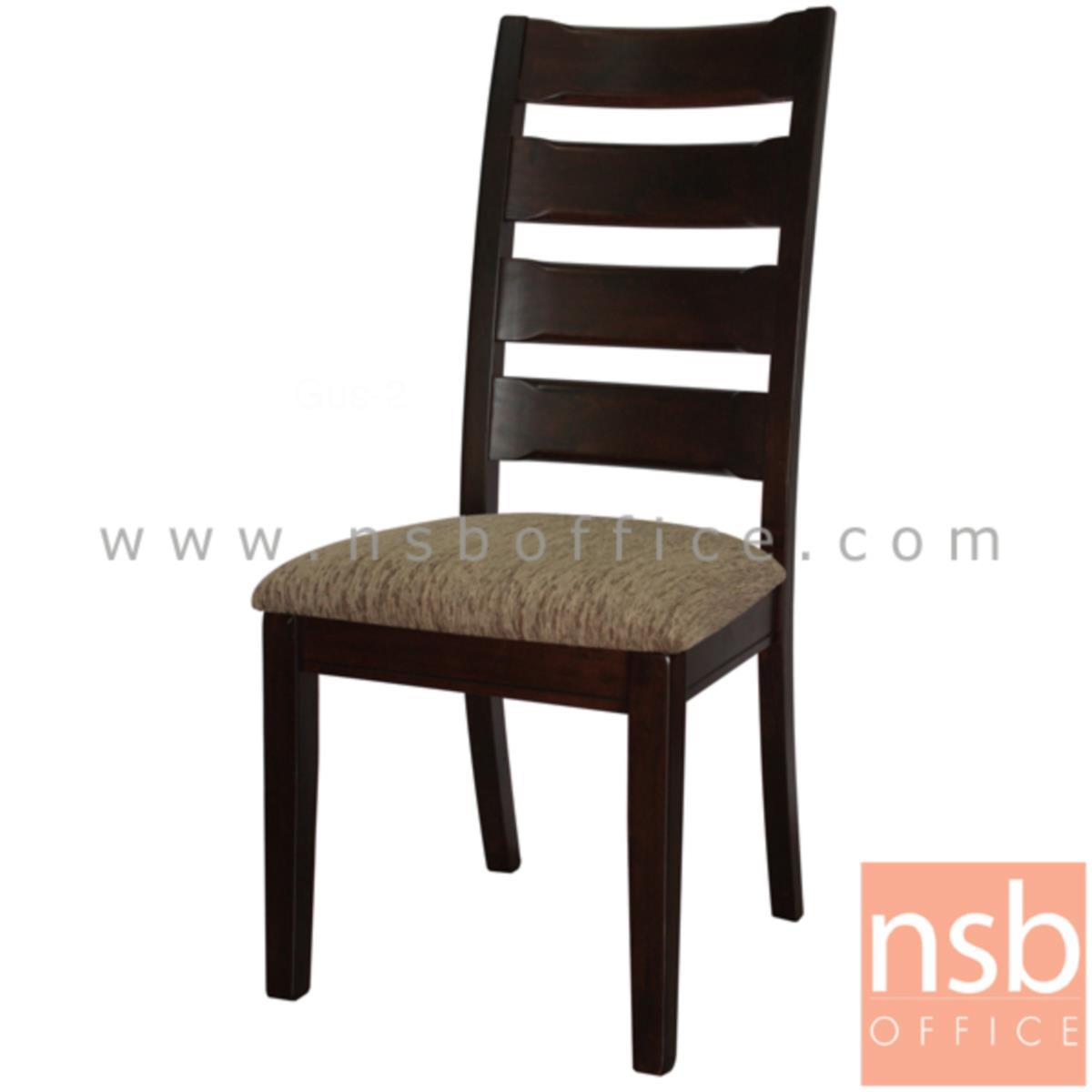 B22A135:เก้าอี้ไม้ยางพาราที่นั่งหุ้มผ้า รุ่น Alba (อัลบา) ขาไม้