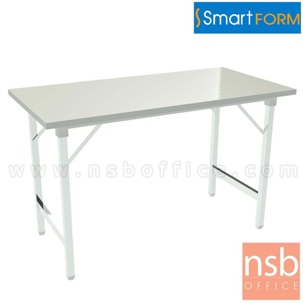 โต๊ะพับหน้าเหล็ก  ขนาด 150W, 180W (*75D) cm  ขาเหล็กชุบโครเมี่ยม