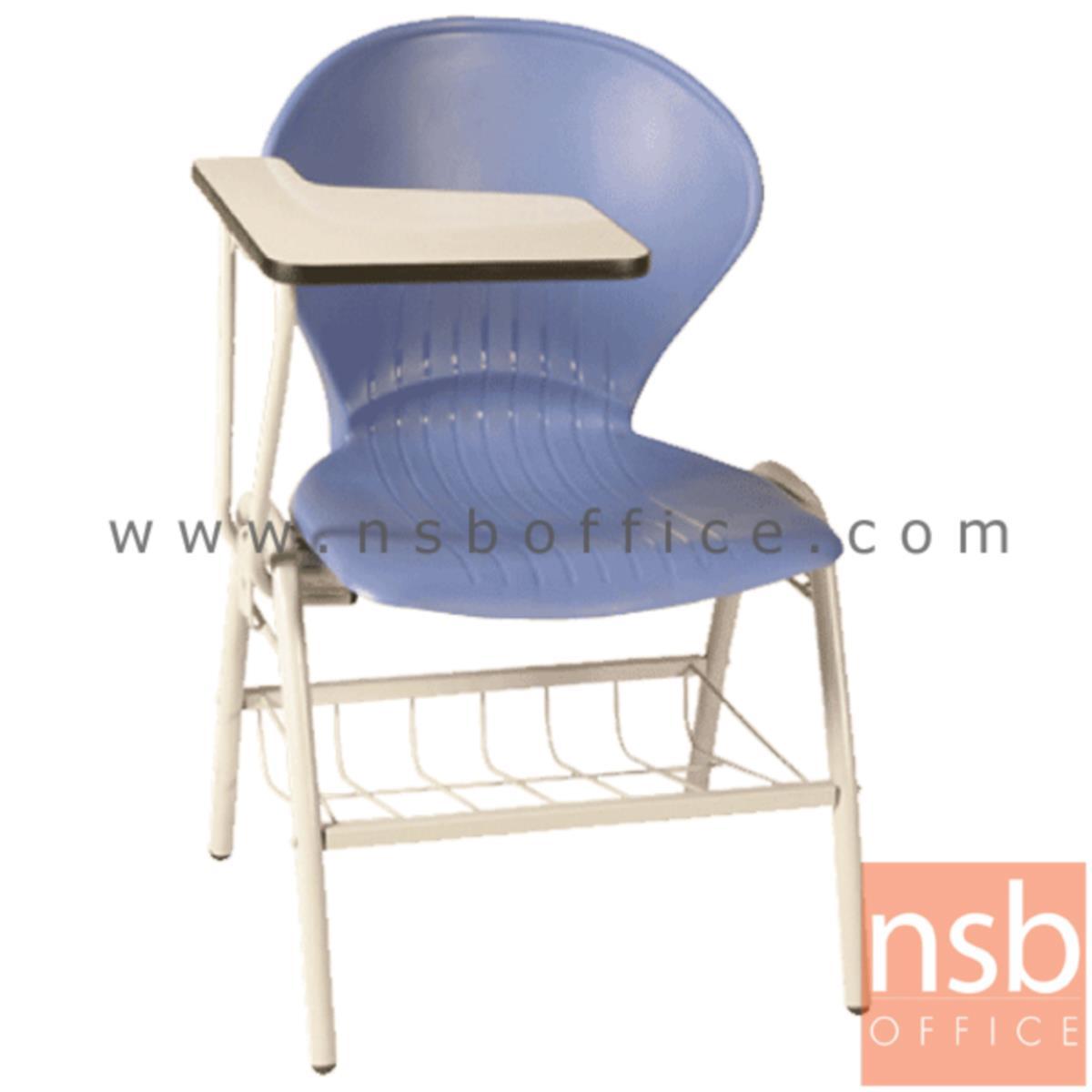 B07A055:เก้าอี้เลคเชอร์เฟรมโพลี่ รุ่น C076-466 (มีตะแกรงวางของ) ขาเหล็กพ่นสี